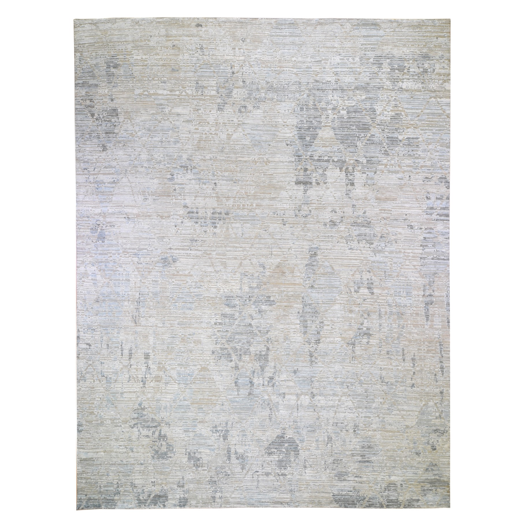 Mid Century Modern Collection Hand Knotted Ivory Rug No: 1118524