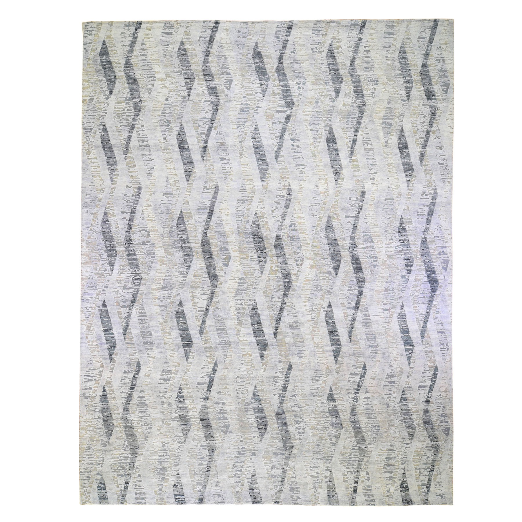 Mid Century Modern Collection Hand Knotted Ivory Rug No: 01118536