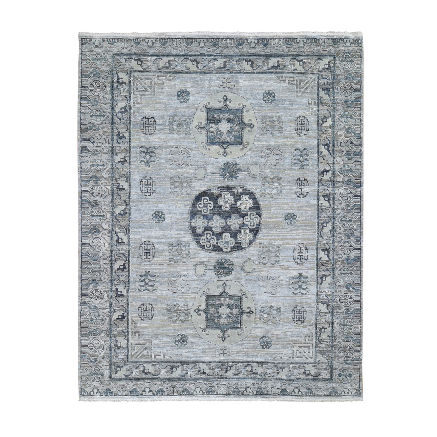 Wool and Real Silk Collection Hand Knotted Grey Rug No: 1118522