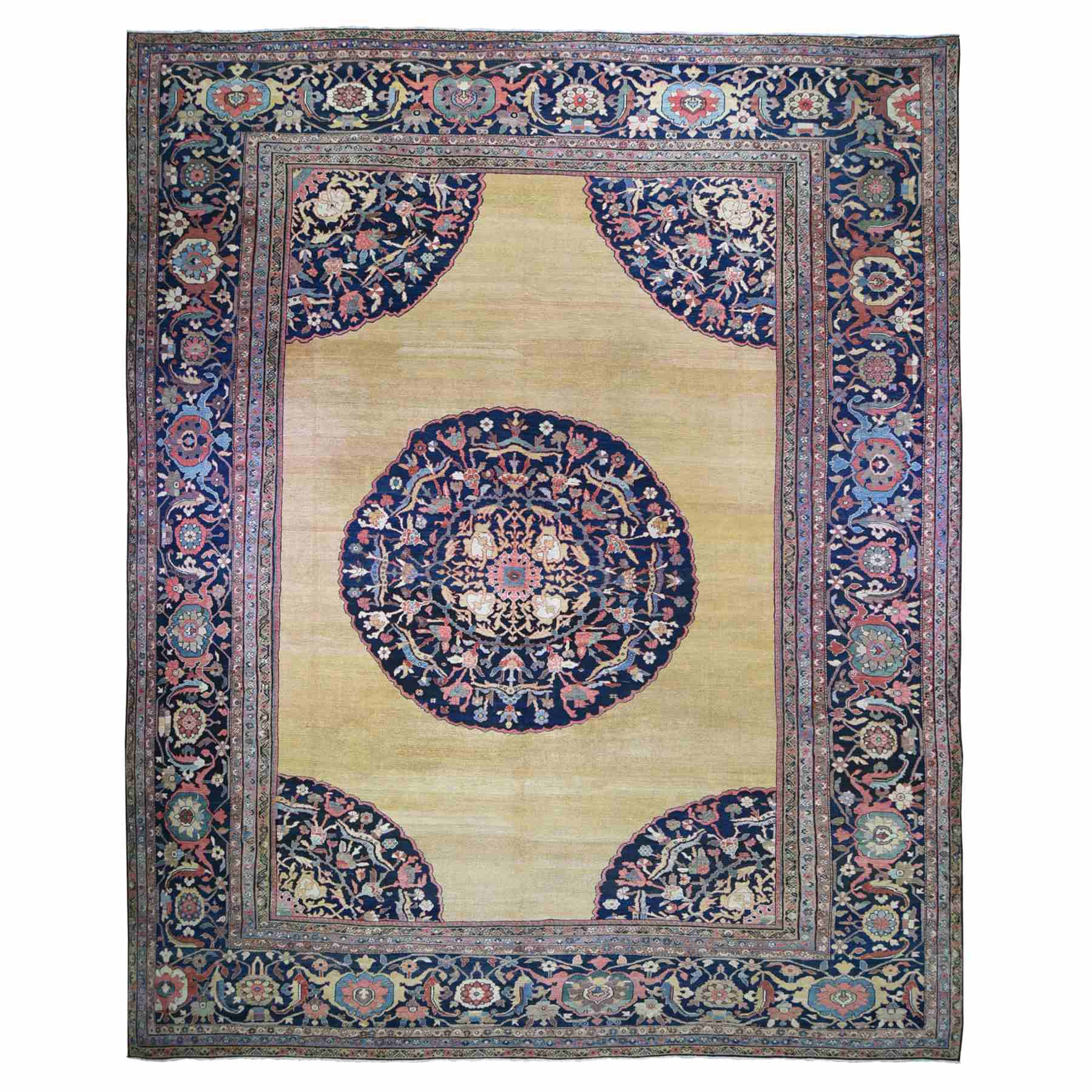 Antique Collection Hand Knotted Yellow Rug No: 1118572