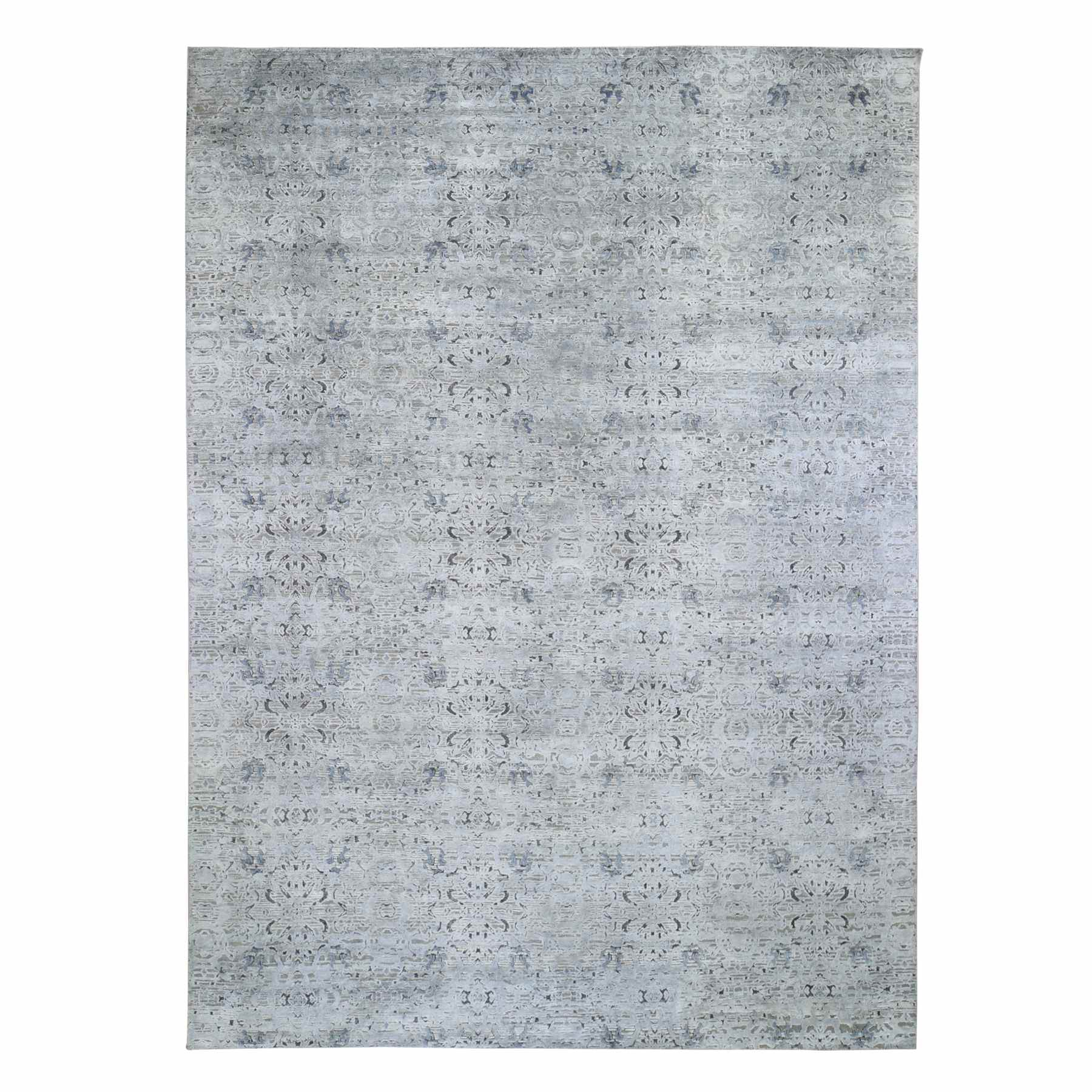 Mid Century Modern Collection Hand Knotted Grey Rug No: 1118546