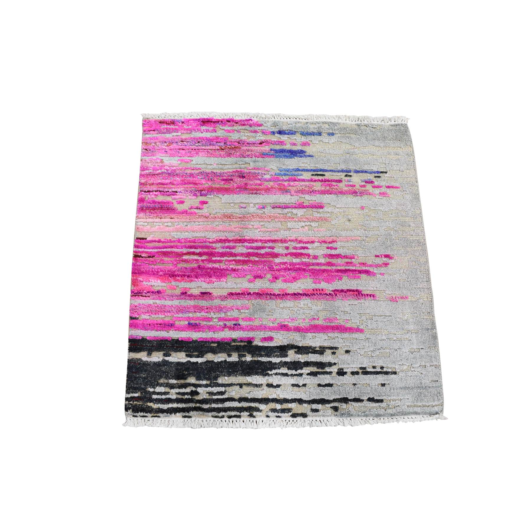 Wool and Real Silk Collection Hand Knotted Grey Rug No: 1118558
