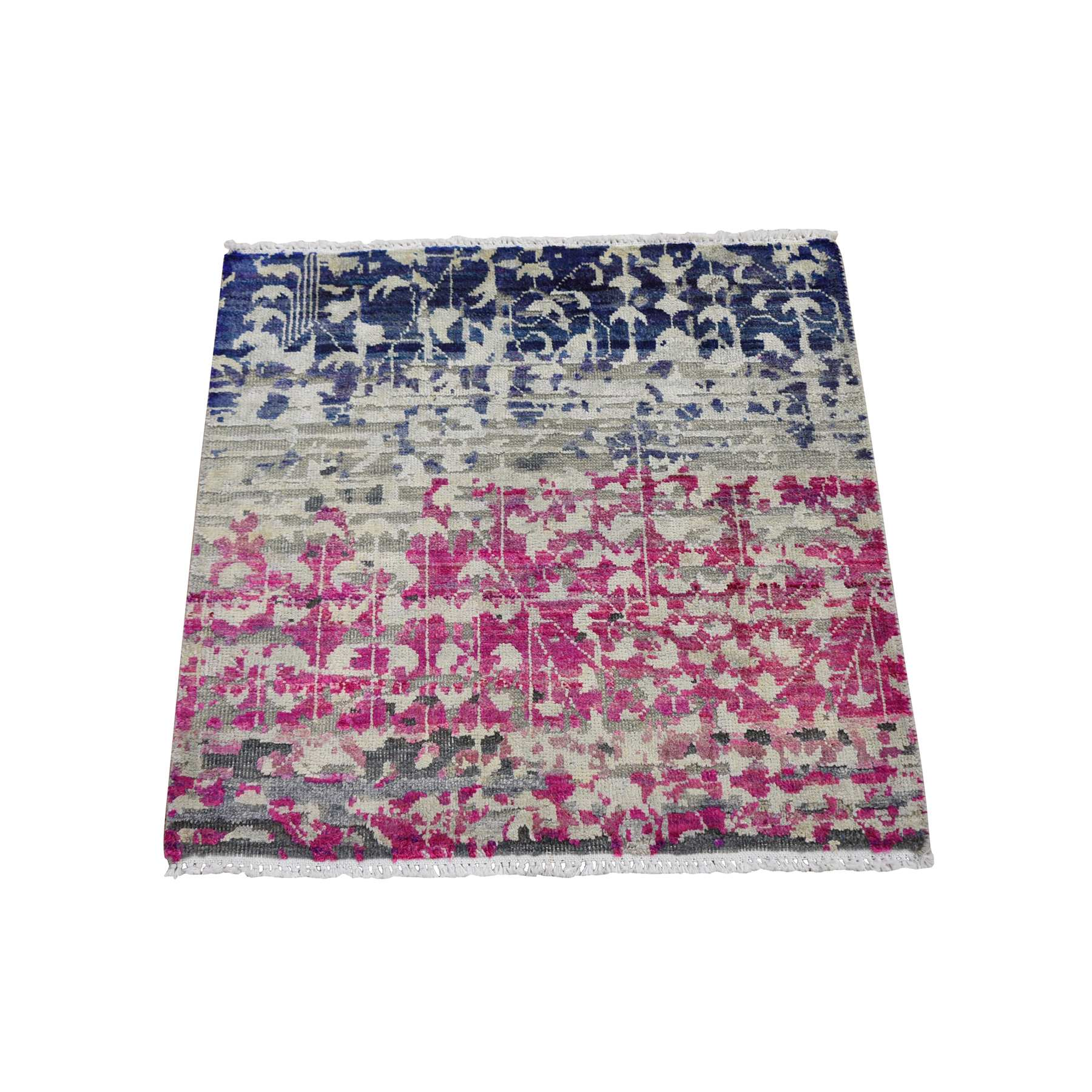 Mid Century Modern Collection Hand Knotted Pink Rug No: 01118566