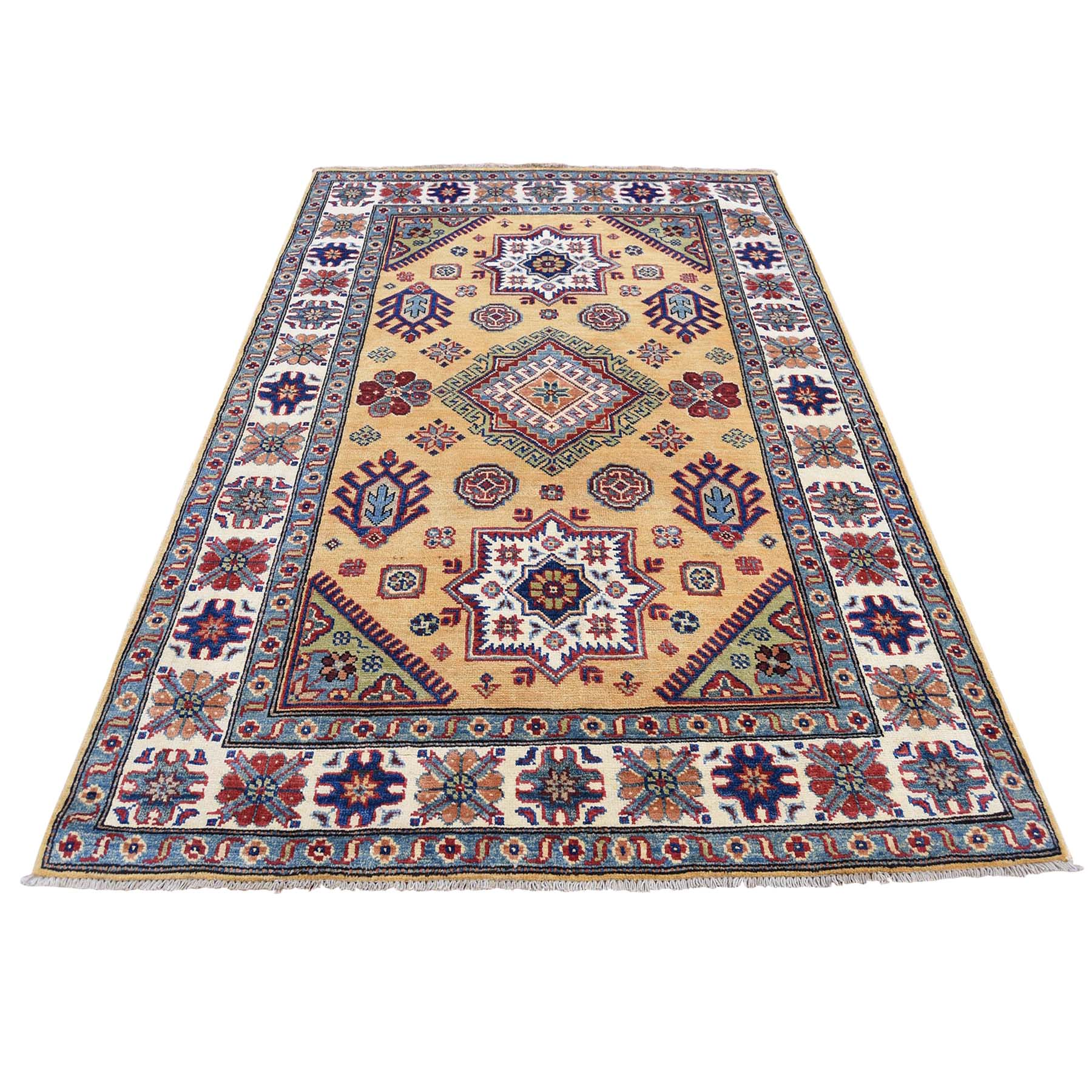 Caucasian Collection Hand Knotted Yellow Rug No: 0177884