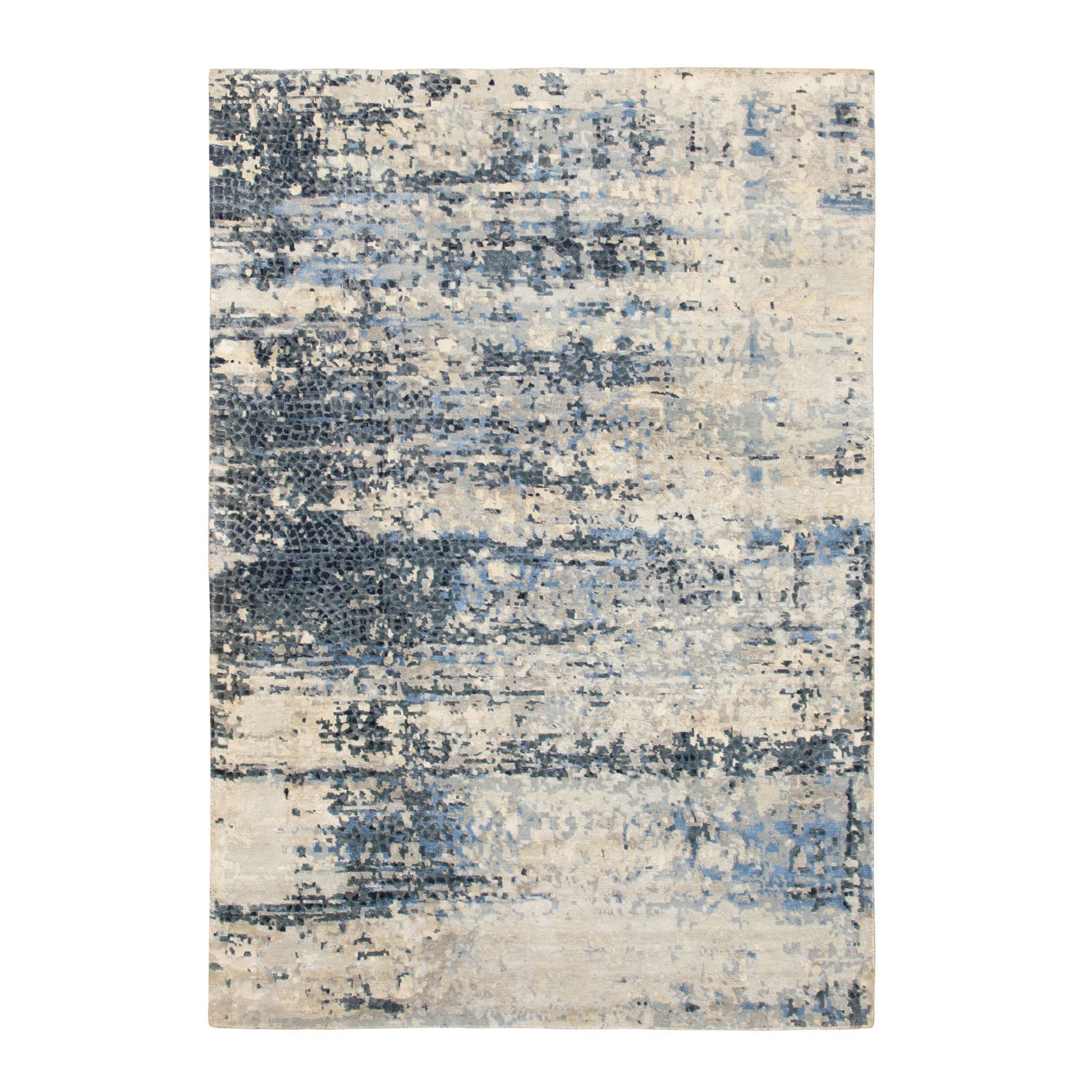 Mid Century Modern Collection Hand Knotted Grey Rug No: 1116772