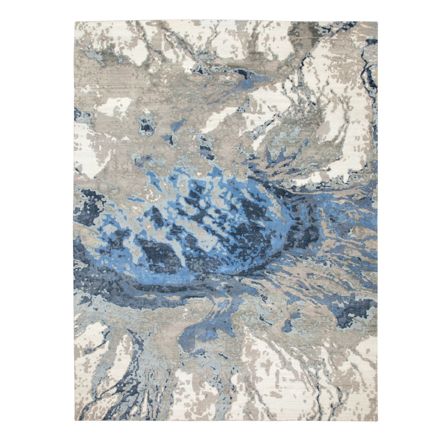 Mid Century Modern Collection Hand Knotted Blue Rug No: 1116774