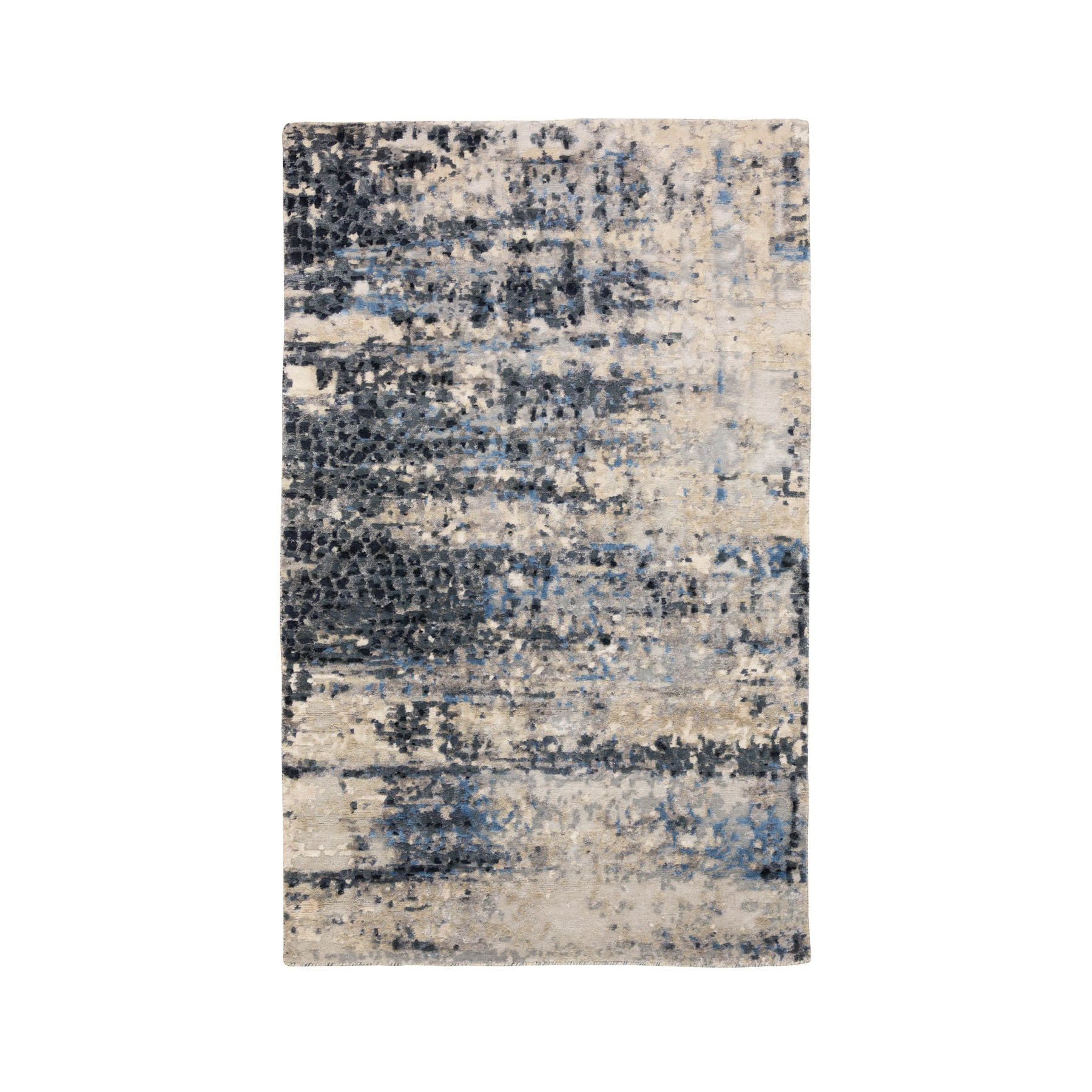 Mid Century Modern Collection Hand Knotted Grey Rug No: 1116822