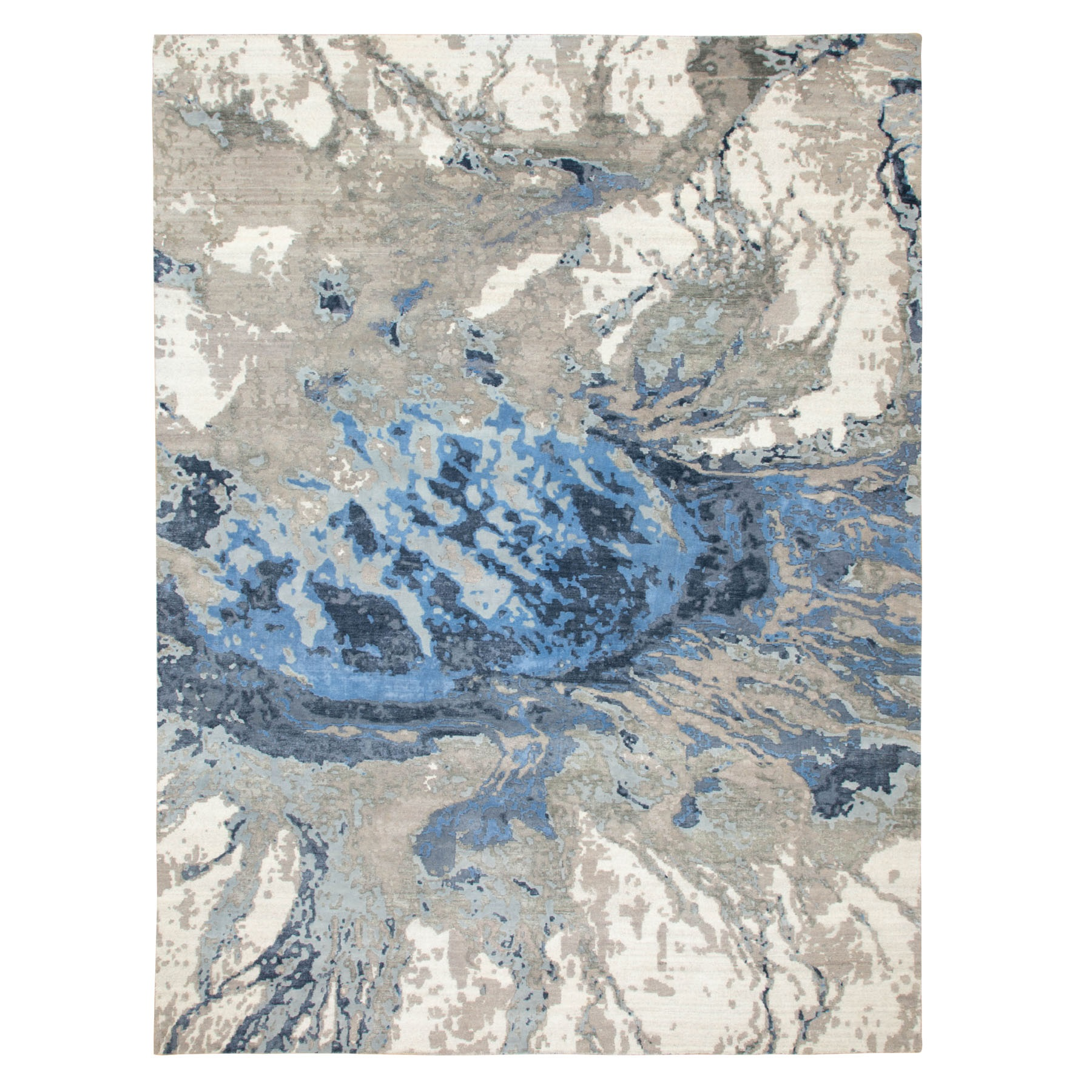 Mid Century Modern Collection Hand Knotted Blue Rug No: 1116836