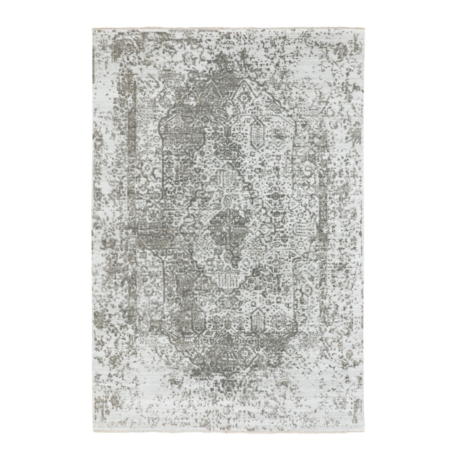 Transitional Hand Knotted Grey Rug No: 1116678