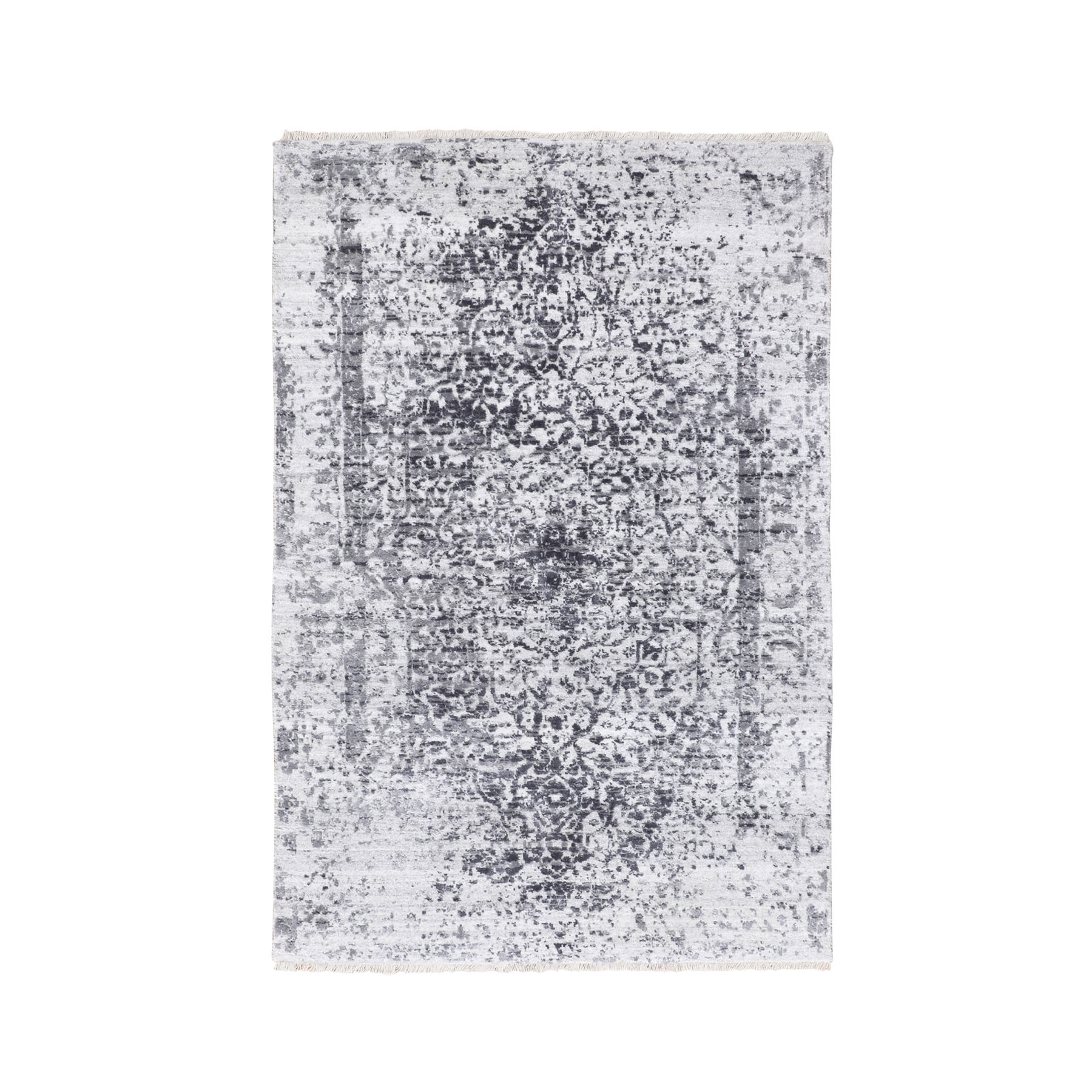 Transitional Hand Knotted Grey Rug No: 1116682