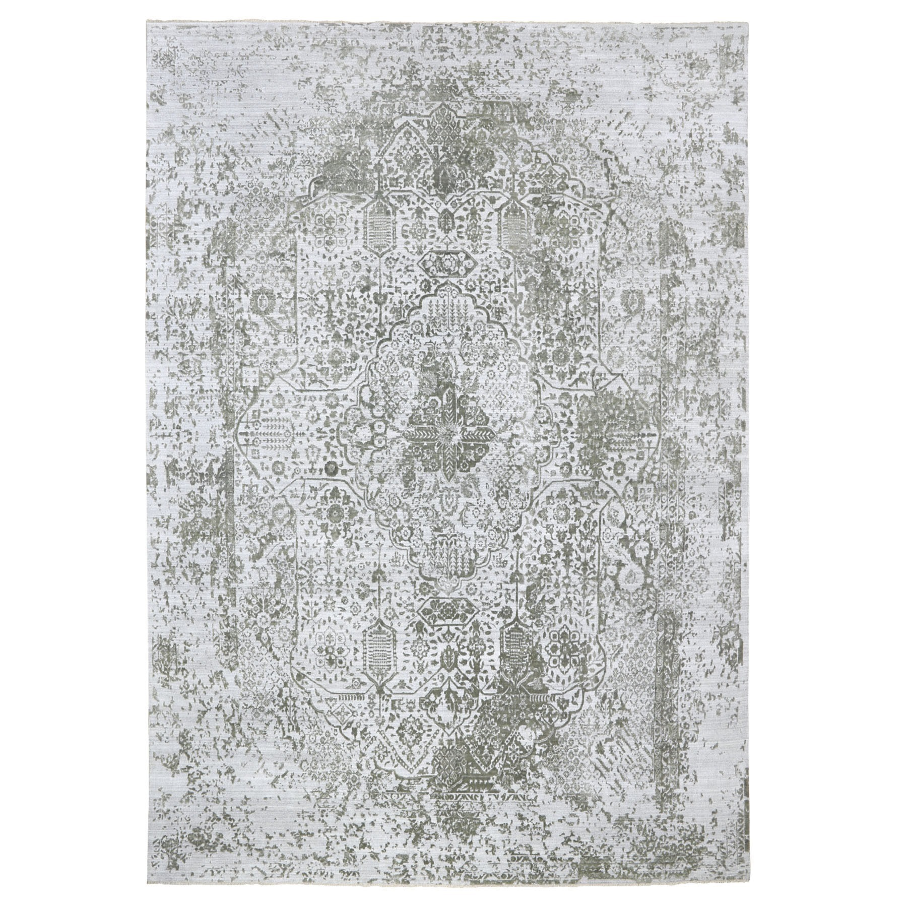 Transitional Hand Knotted Grey Rug No: 01116684