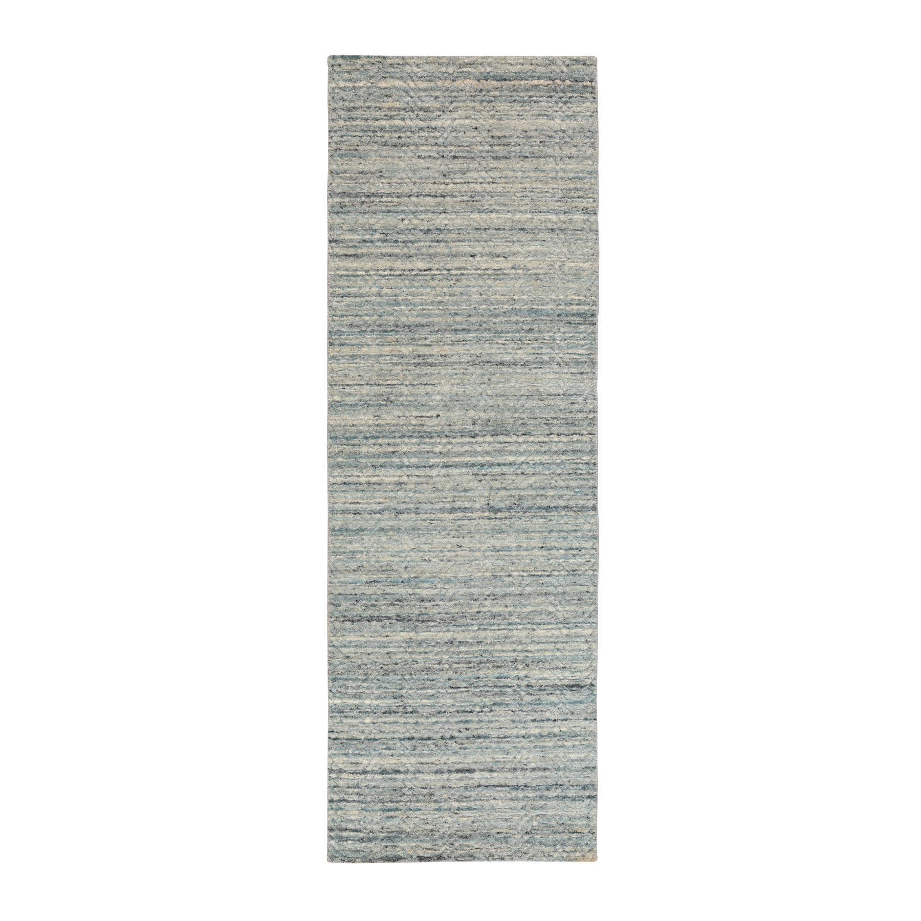 Mid Century Modern Collection Hand Loomed Green Rug No: 01116842