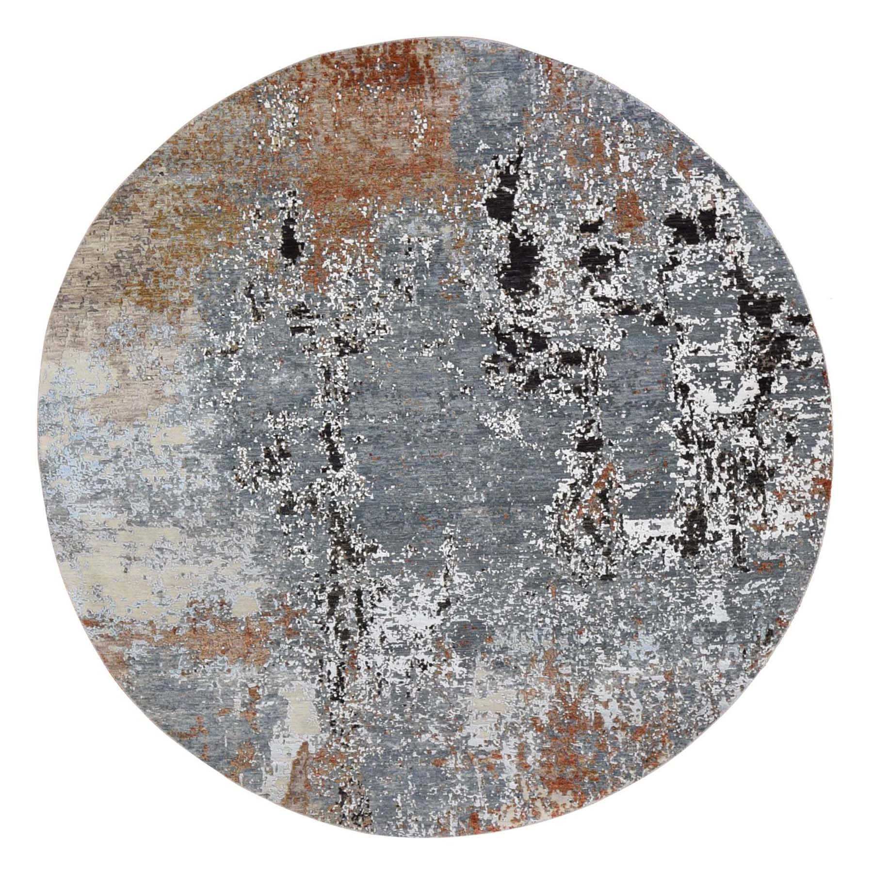 Mid Century Modern Collection Hand Knotted Grey Rug No: 01118602