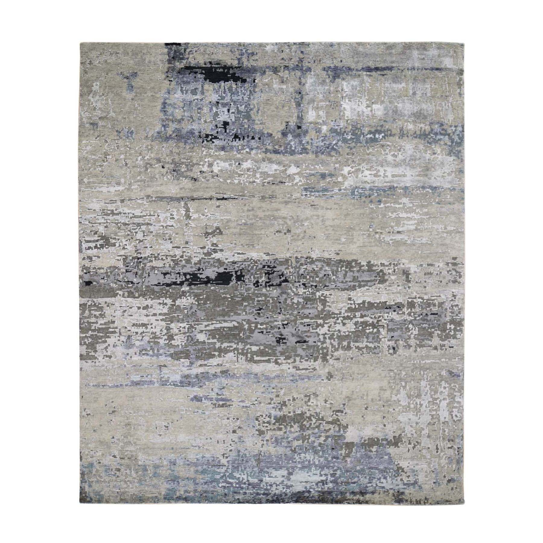 Mid Century Modern Collection Hand Knotted Grey Rug No: 01118606