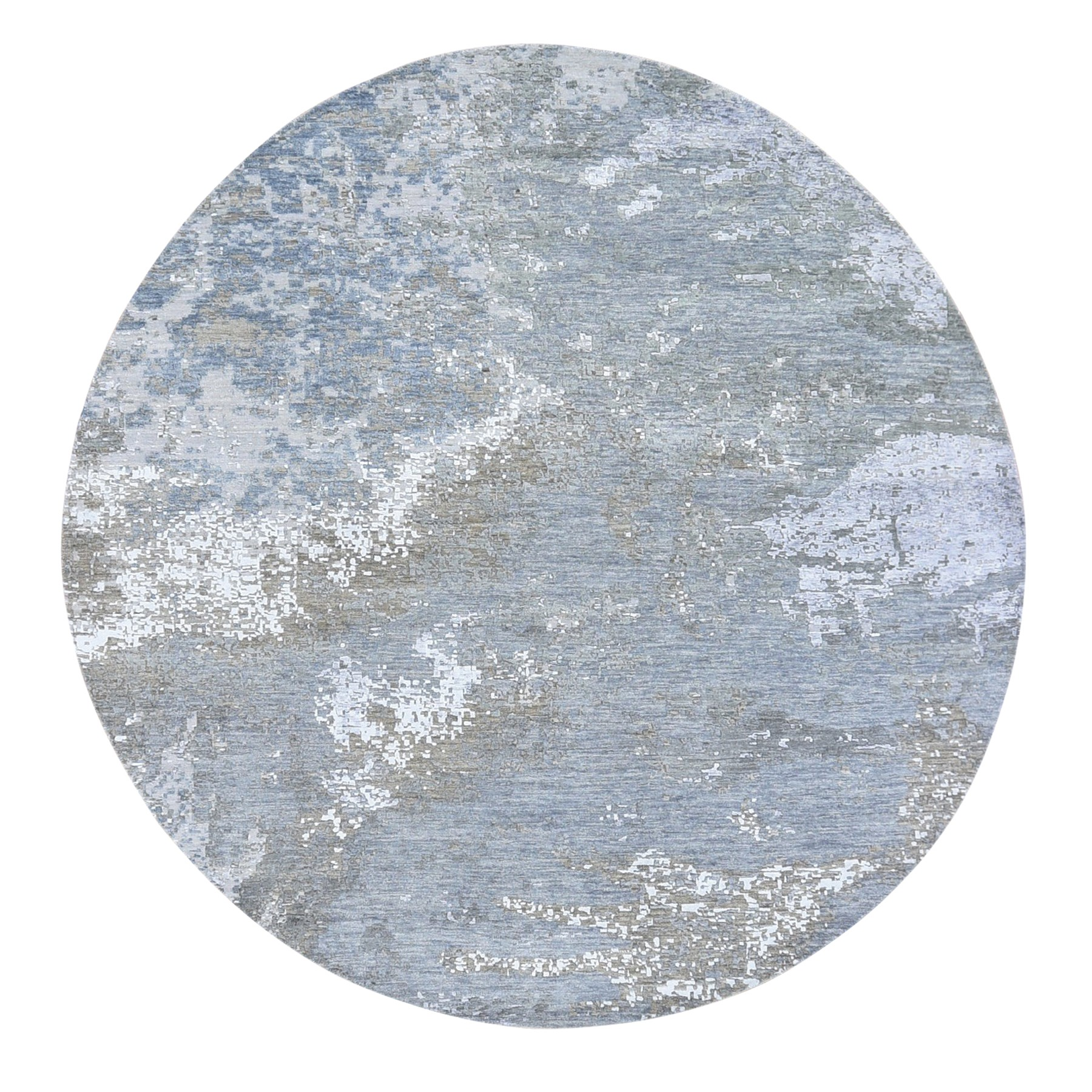 Mid Century Modern Collection Hand Knotted Grey Rug No: 1118634