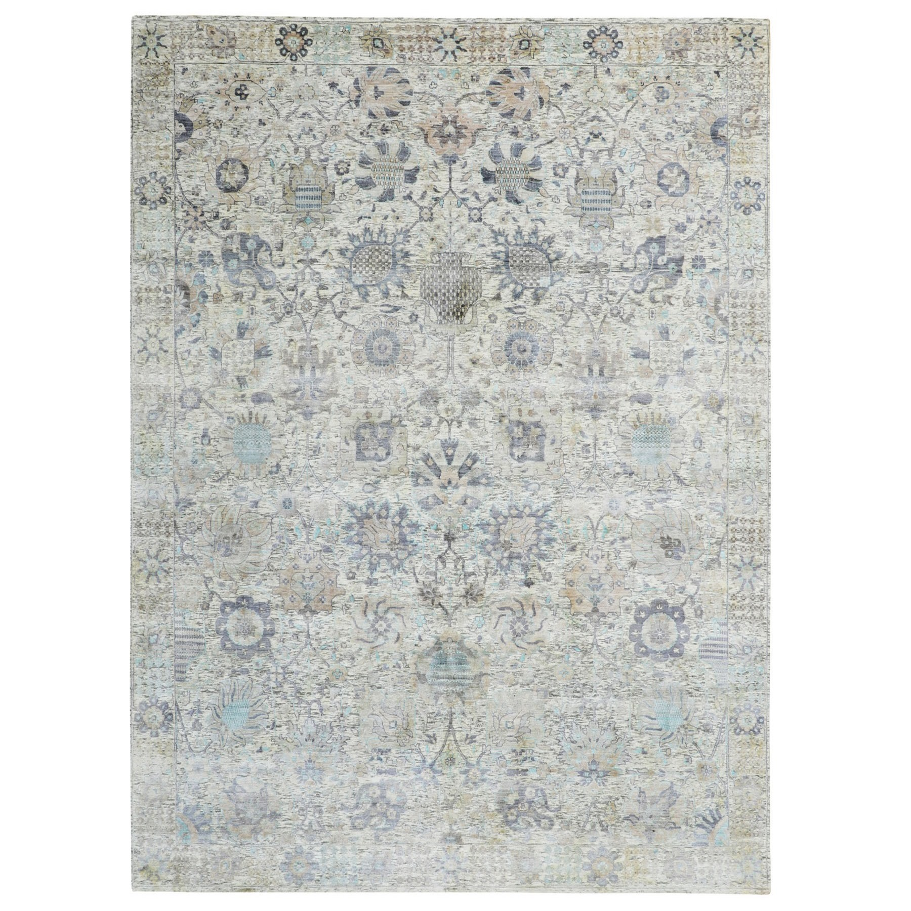 Transitional Hand Knotted Ivory Rug No: 1116322