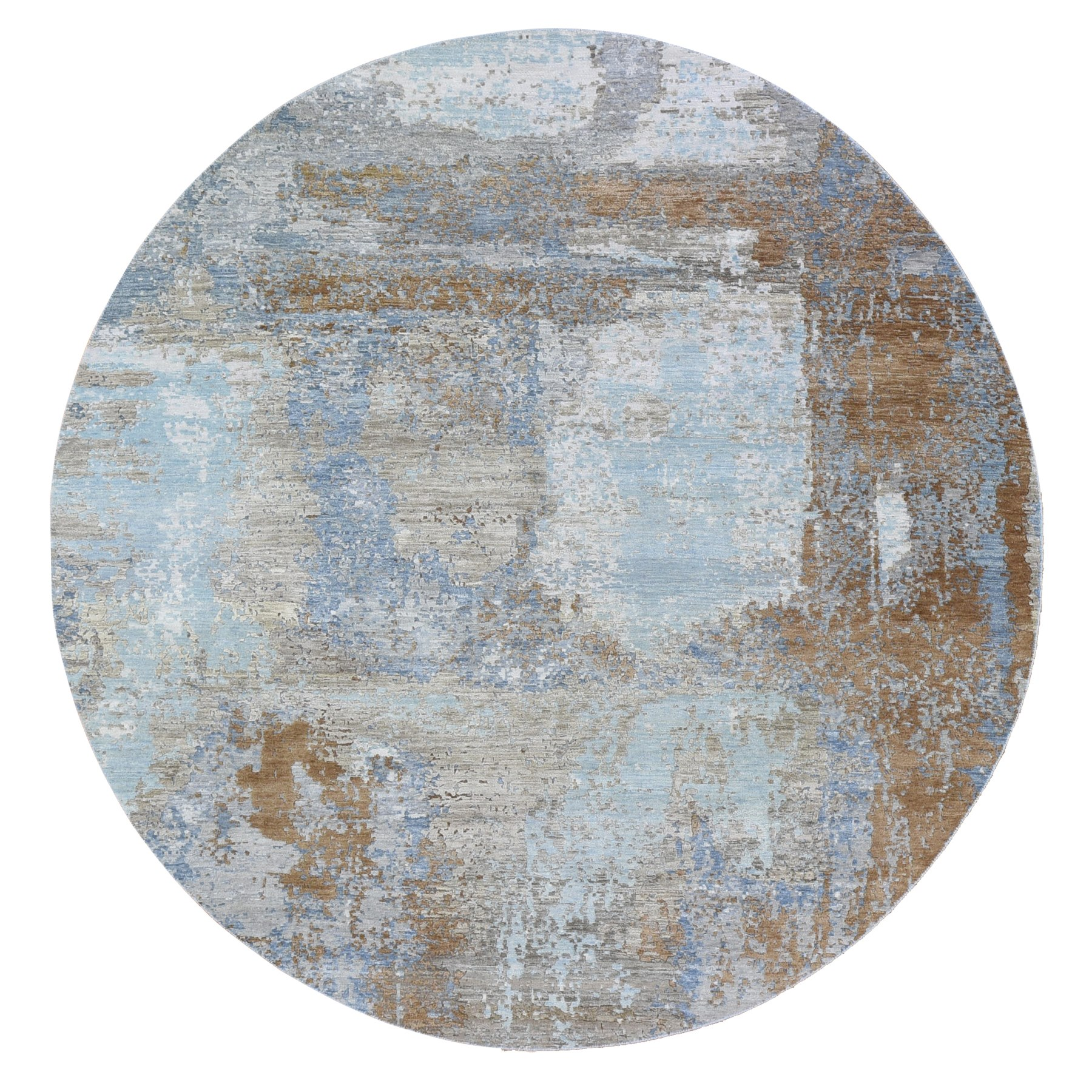 Mid Century Modern Collection Hand Knotted Blue Rug No: 1118642