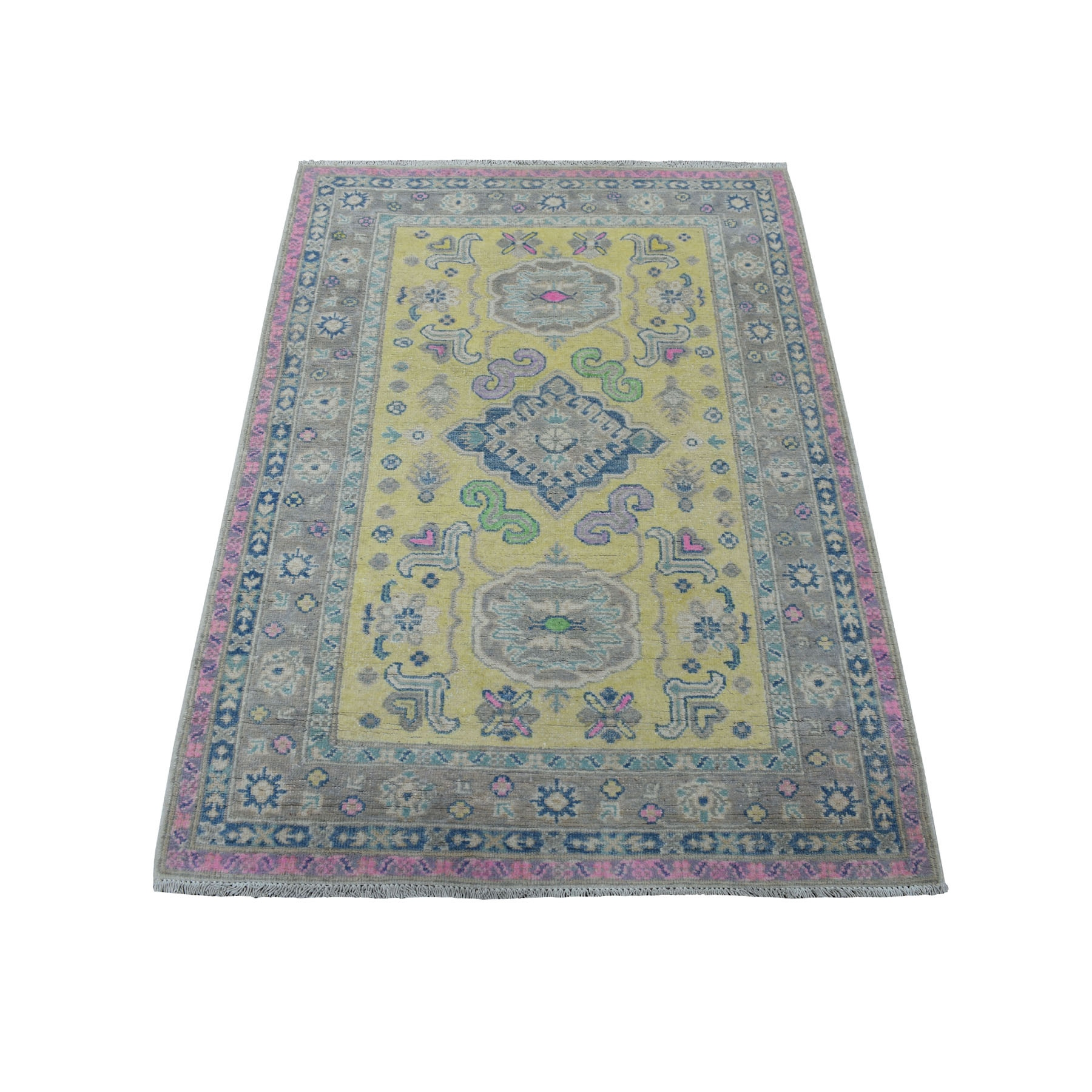 Caucasian Collection Hand Knotted Yellow Rug No: 1110814
