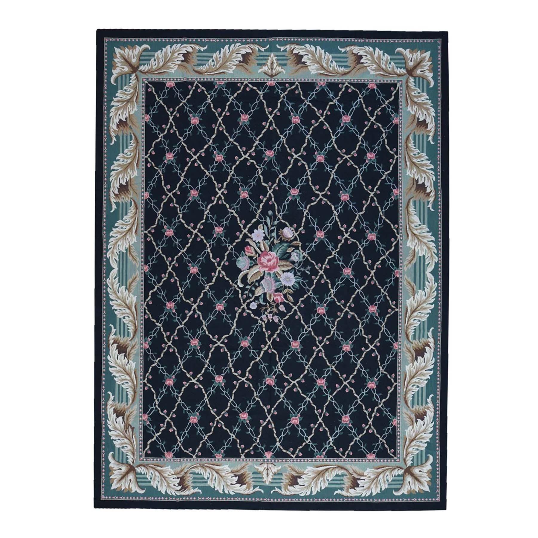 Elegant European Collection Hand Stitched Black Rug No: 166472