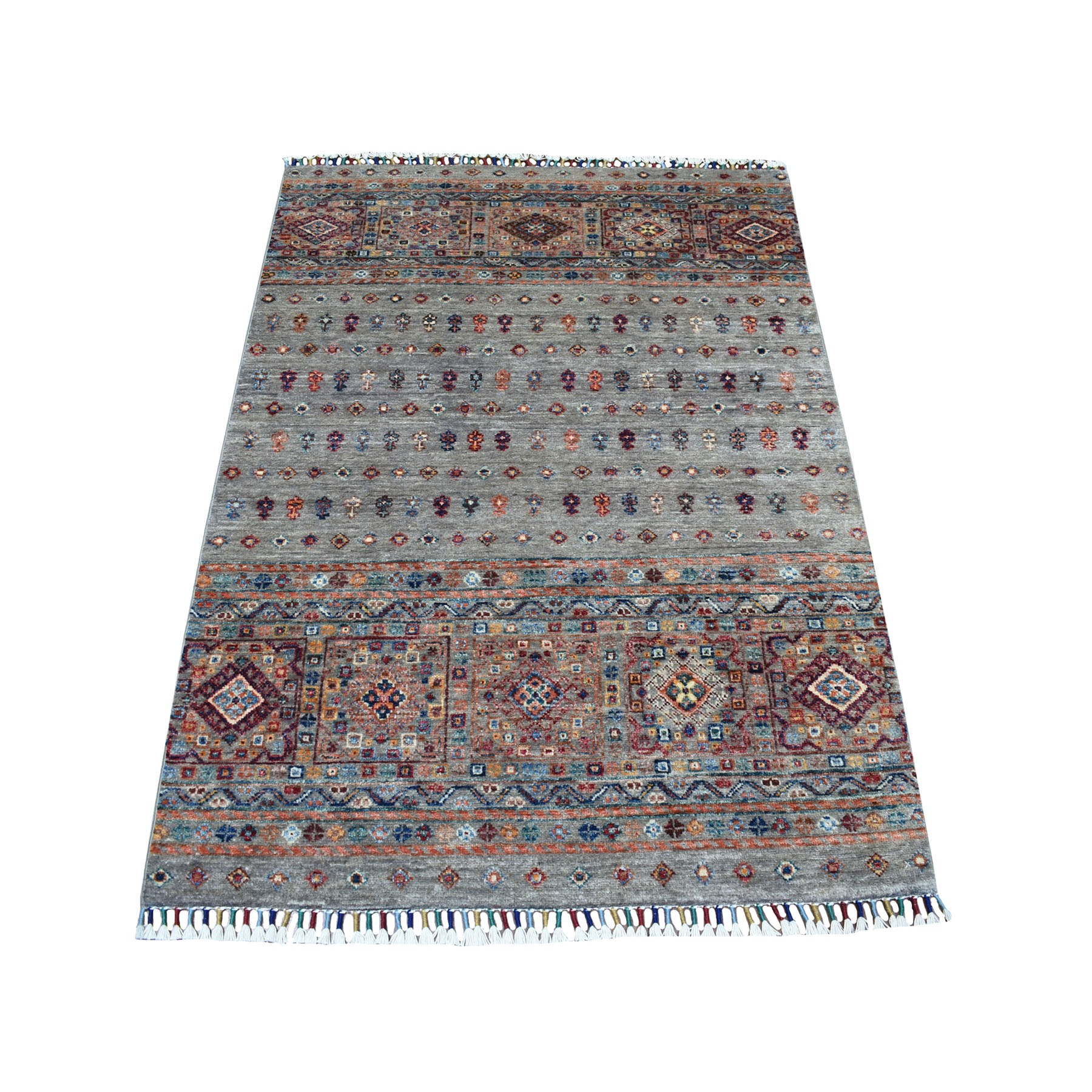 Caucasian Collection Hand Knotted Grey Rug No: 1111802