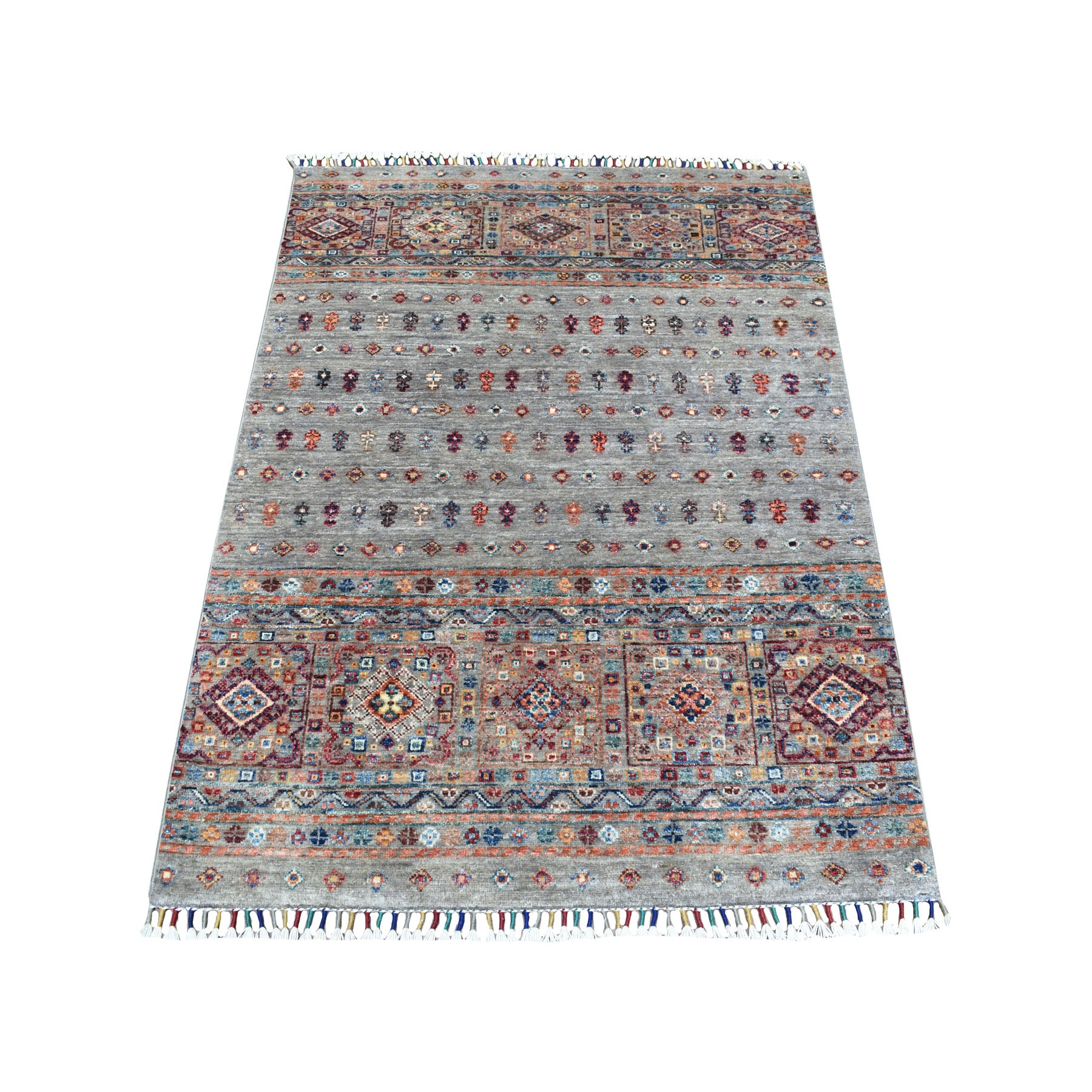 Caucasian Collection Hand Knotted Grey Rug No: 1111810