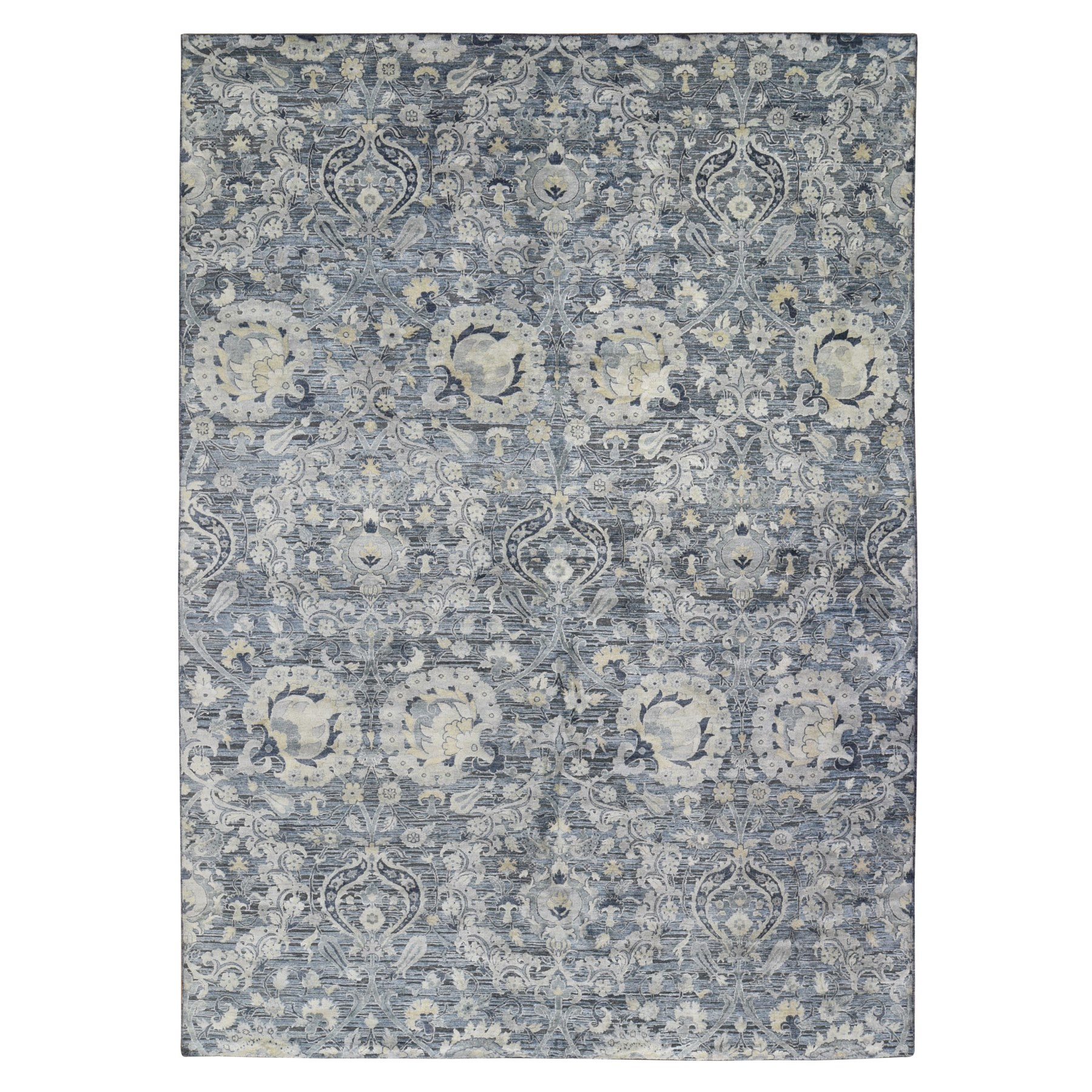 Wool and Real Silk Collection Hand Knotted Blue Rug No: 1118742