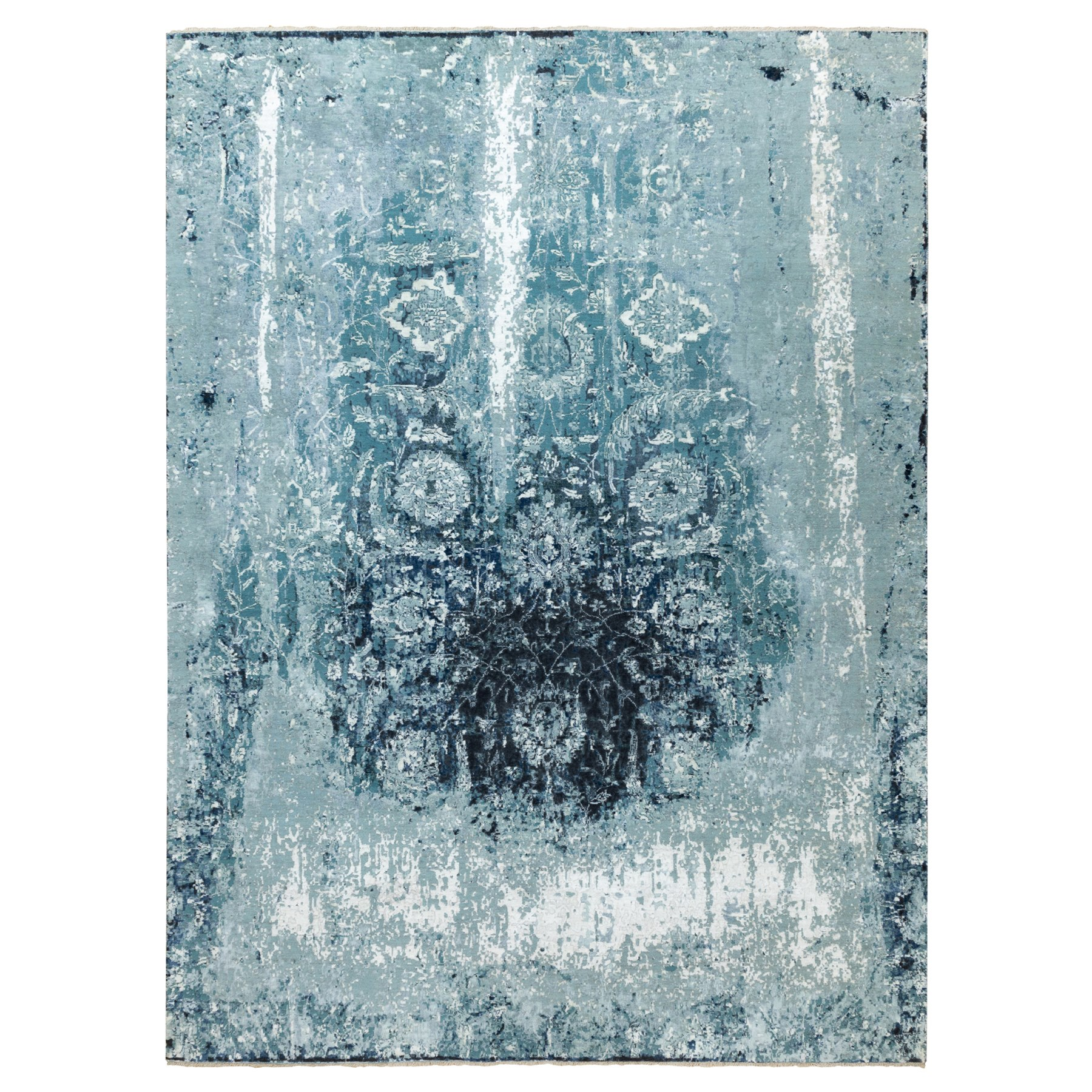 Transitional Hand Knotted Blue Rug No: 1117244