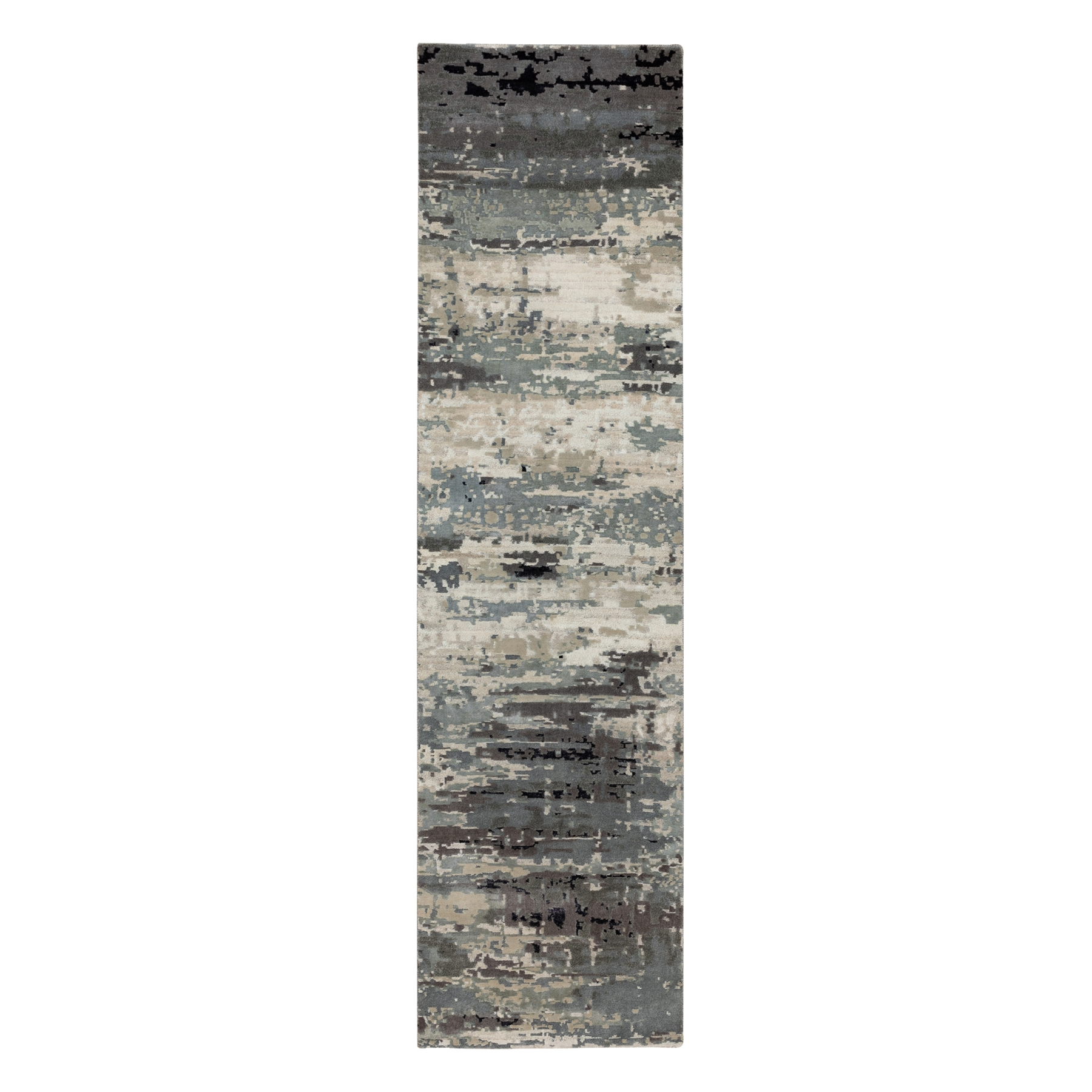 Mid Century Modern Collection Hand Knotted Grey Rug No: 1117110