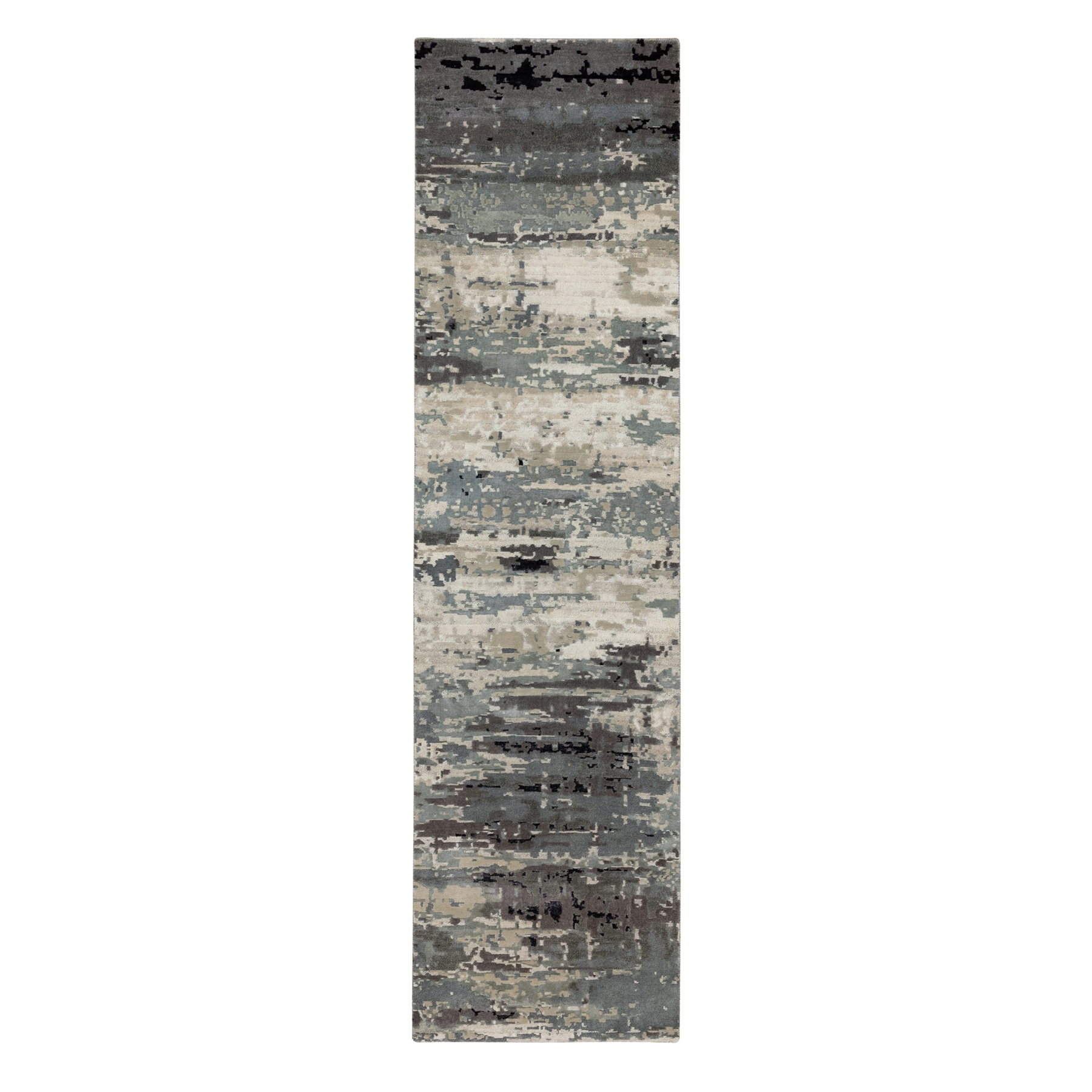 Mid Century Modern Collection Hand Knotted Grey Rug No: 1117132