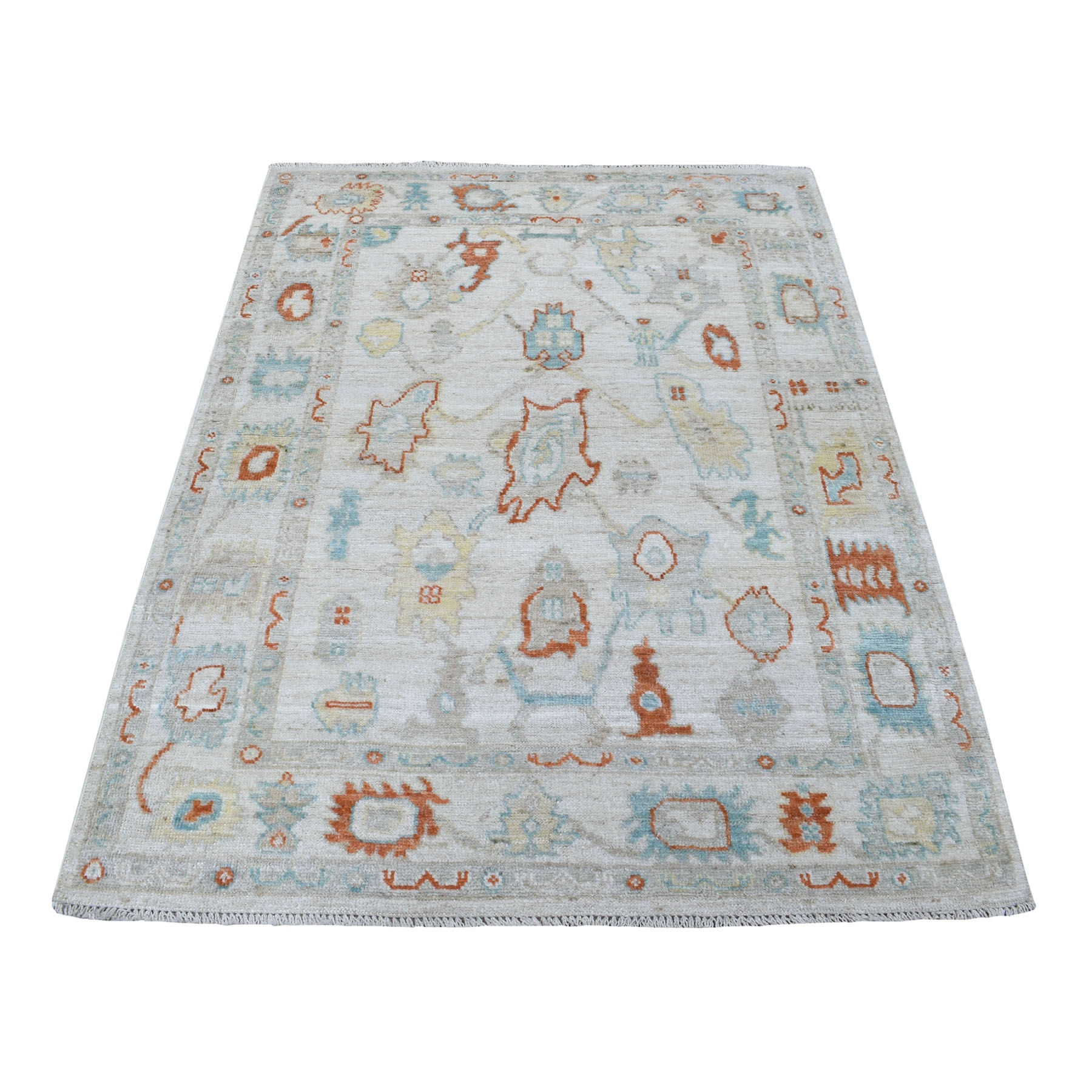 Agra And Turkish Collection Hand Knotted Ivory Rug No: 1111850