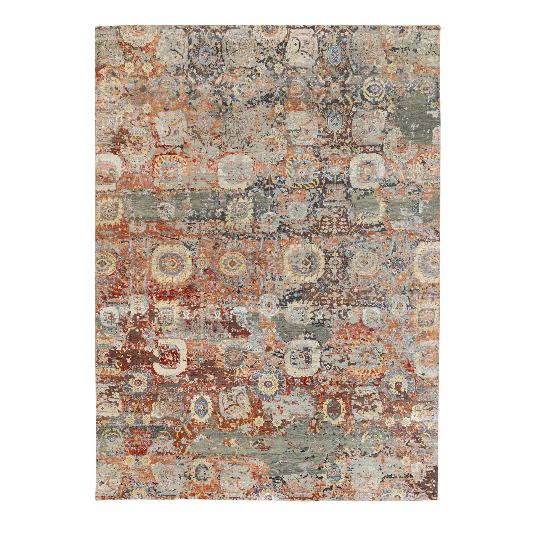 Mid Century Modern Collection Hand Knotted Red Rug No: 1117078