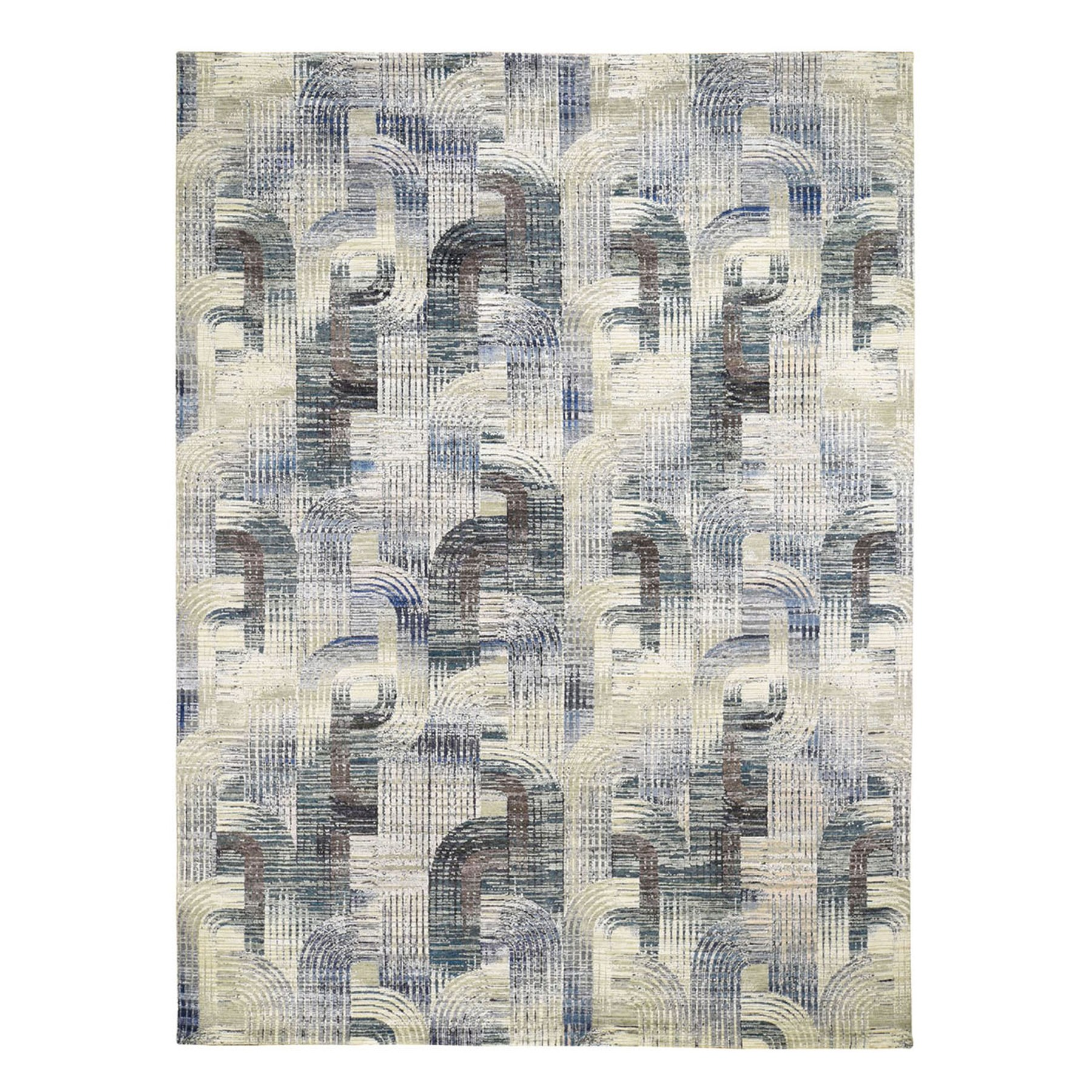 Mid Century Modern Collection Hand Knotted Grey Rug No: 1118934