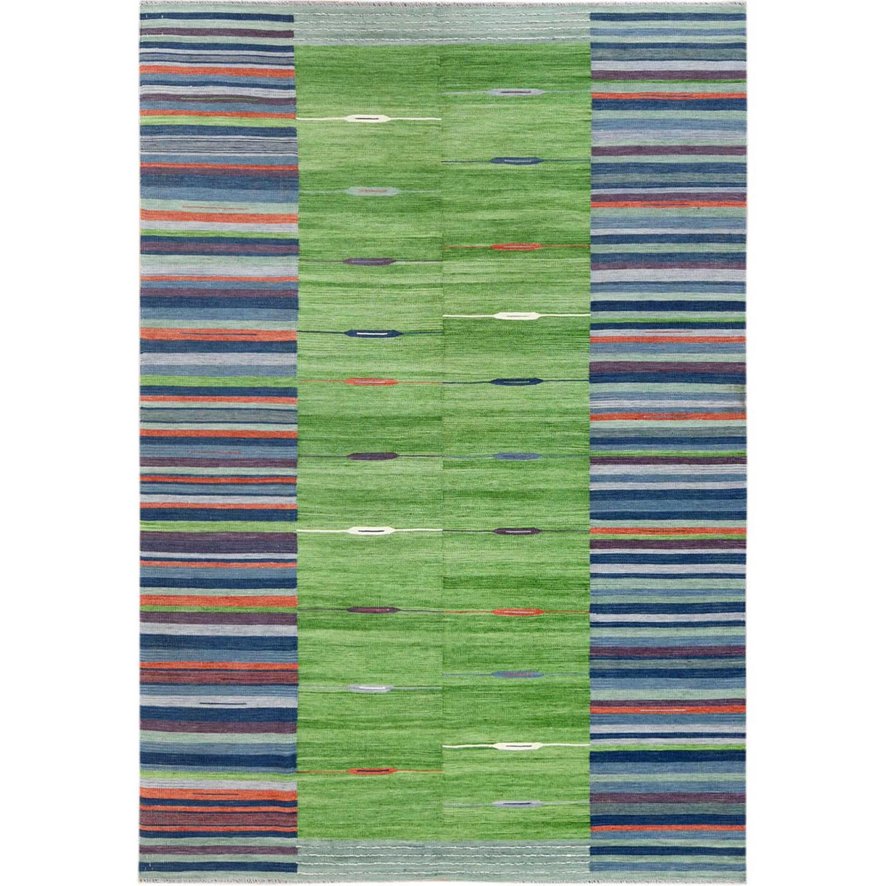 Fine Kilim Collection Hand Woven Green Rug No: 1120192
