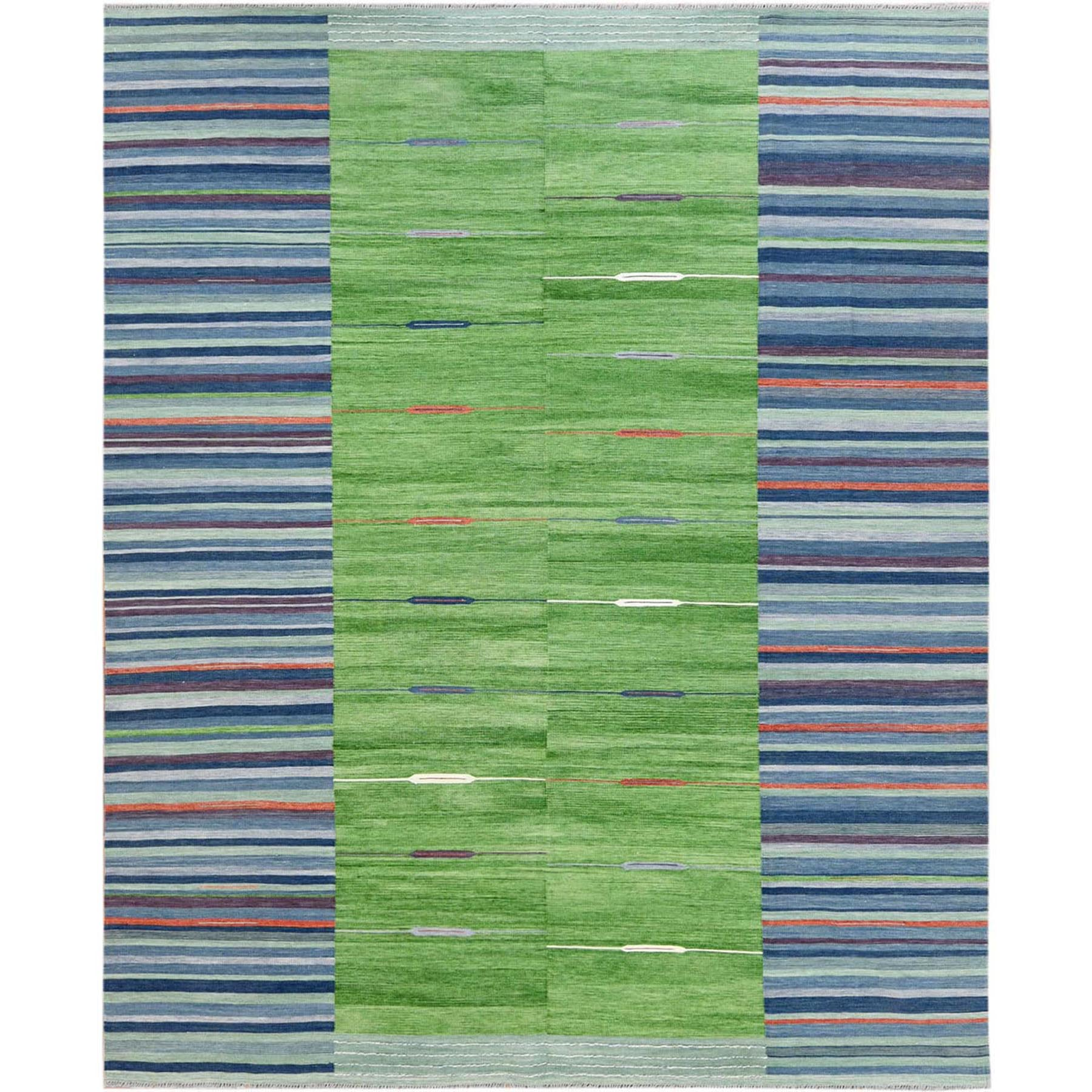 Fine Kilim Collection Hand Woven Green Rug No: 1120186