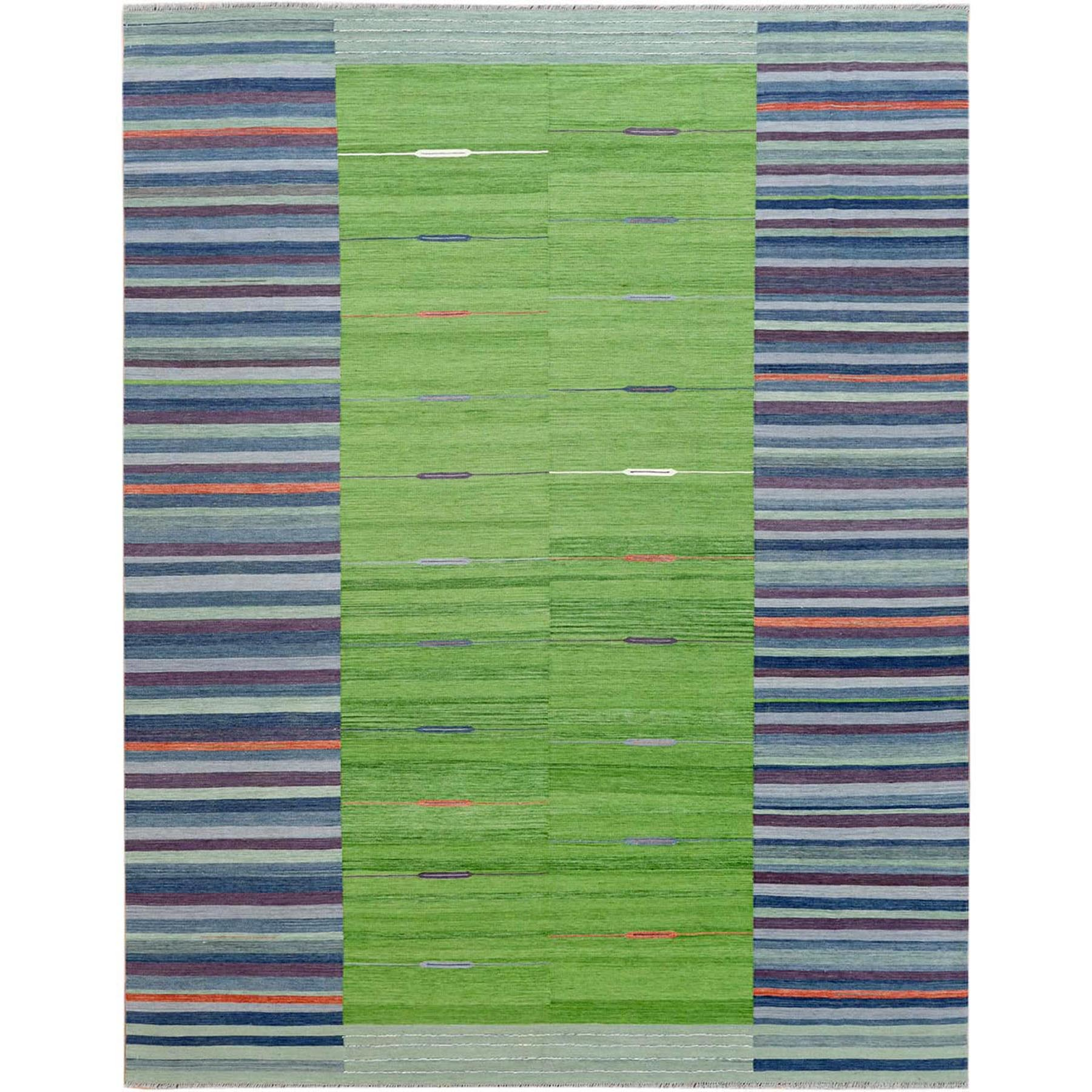 Fine Kilim Collection Hand Woven Green Rug No: 1120184