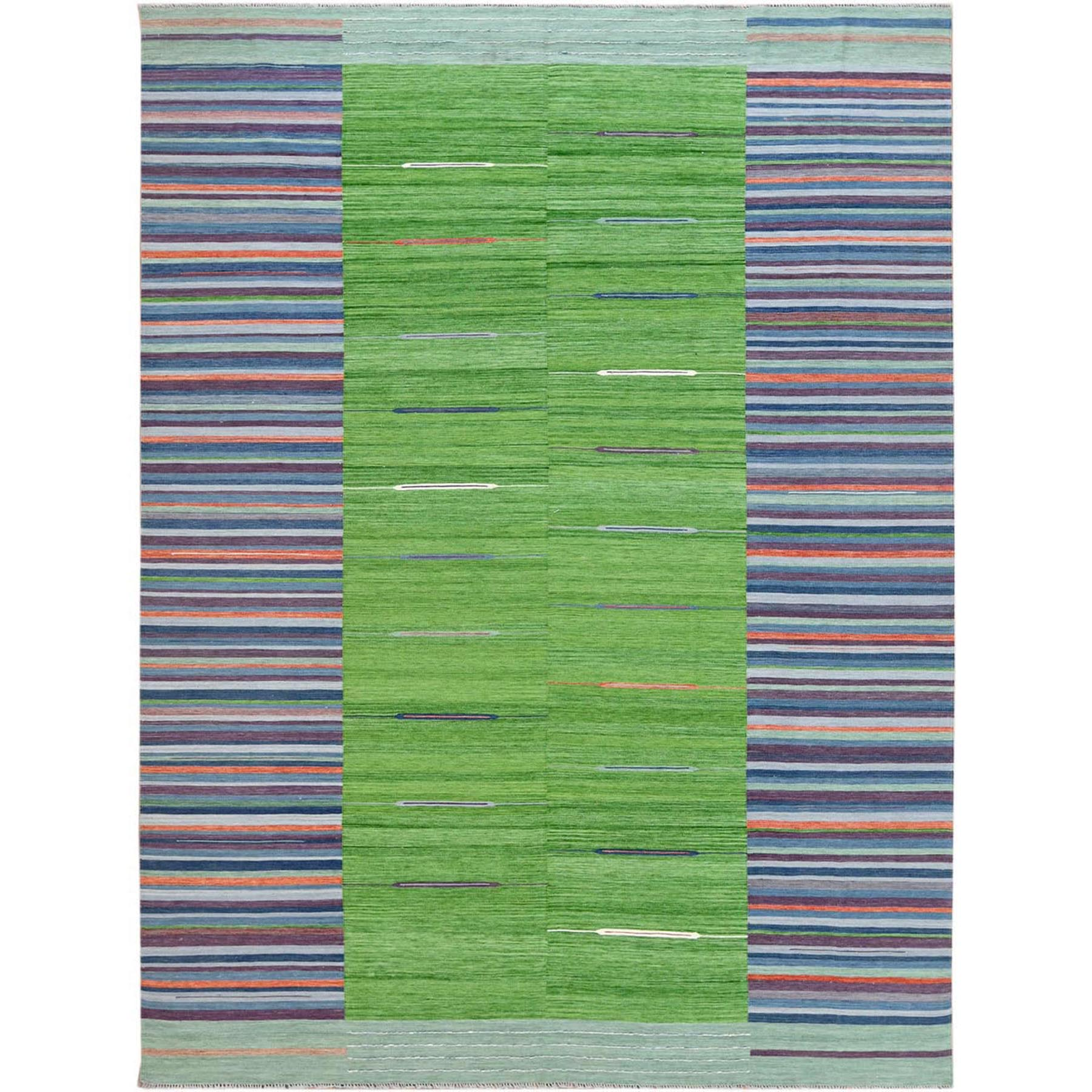 Fine Kilim Collection Hand Woven Green Rug No: 1120182
