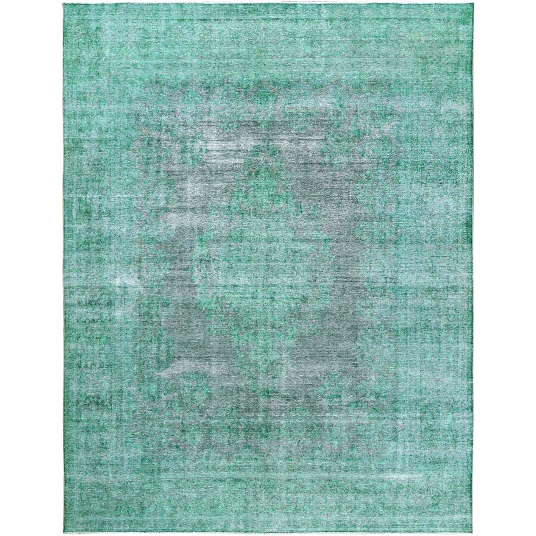 Fetneh Collection And Vintage Overdyed Collection Hand Knotted Green Rug No: 1120610