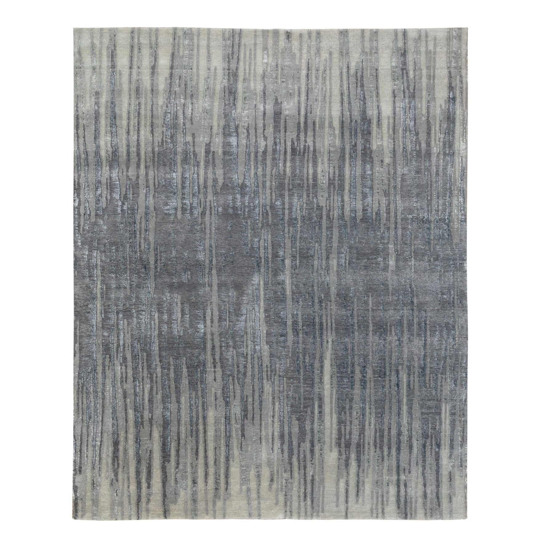 Mid Century Modern Collection Hand Knotted Grey Rug No: 1117218