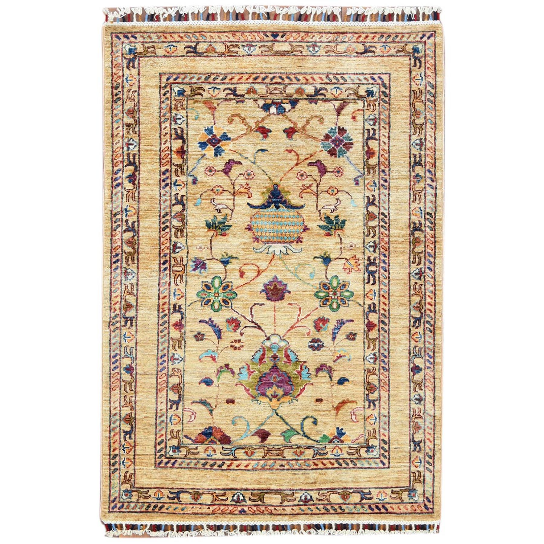 Caucasian Collection Hand Knotted Yellow Rug No: 1120516