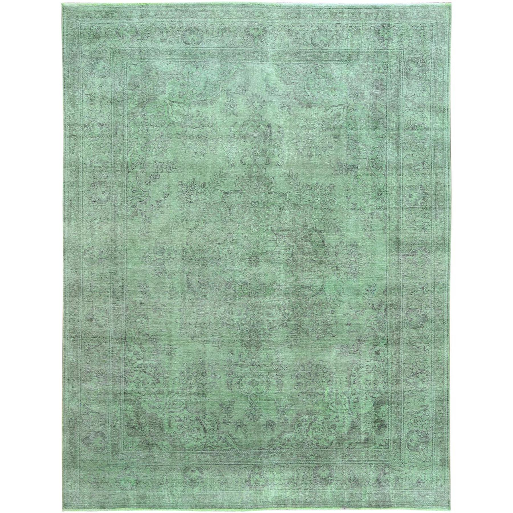 Transitional Collection Hand Knotted Green Rug No: 1115400