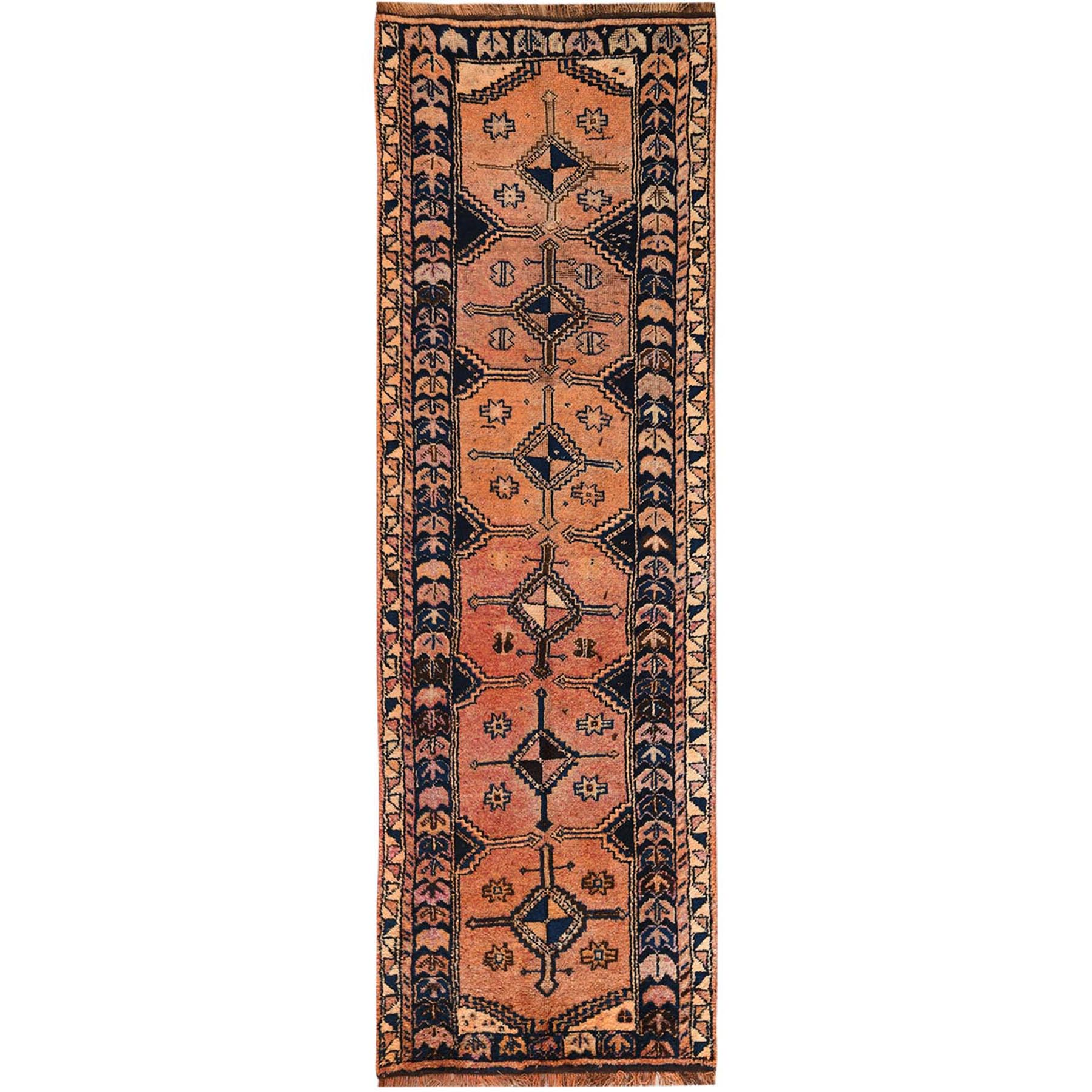 Fetneh Collection And Vintage Overdyed Collection Hand Knotted Orange Rug No: 1115542