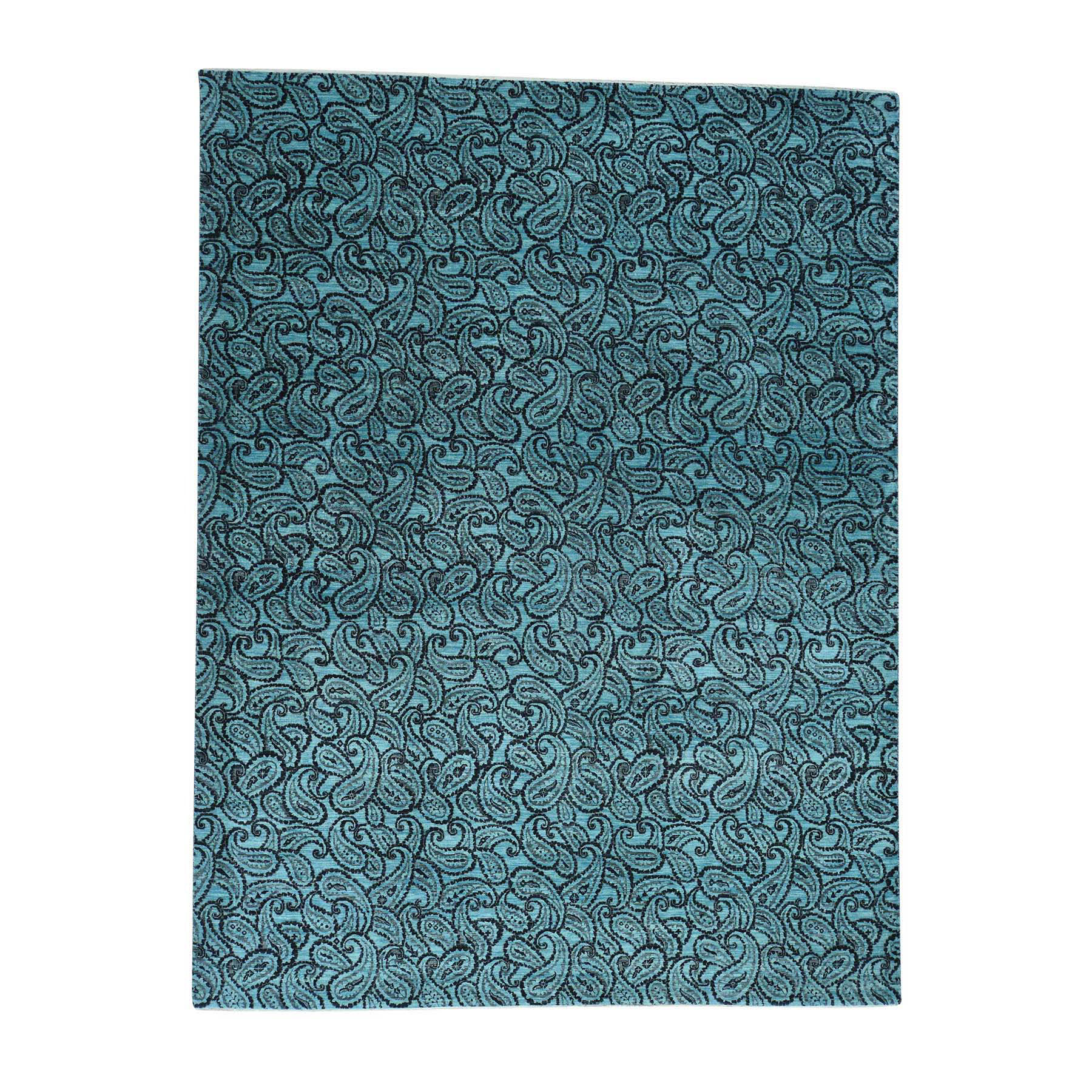 Mid Century Modern Collection Hand Knotted Teal Rug No: 0167572