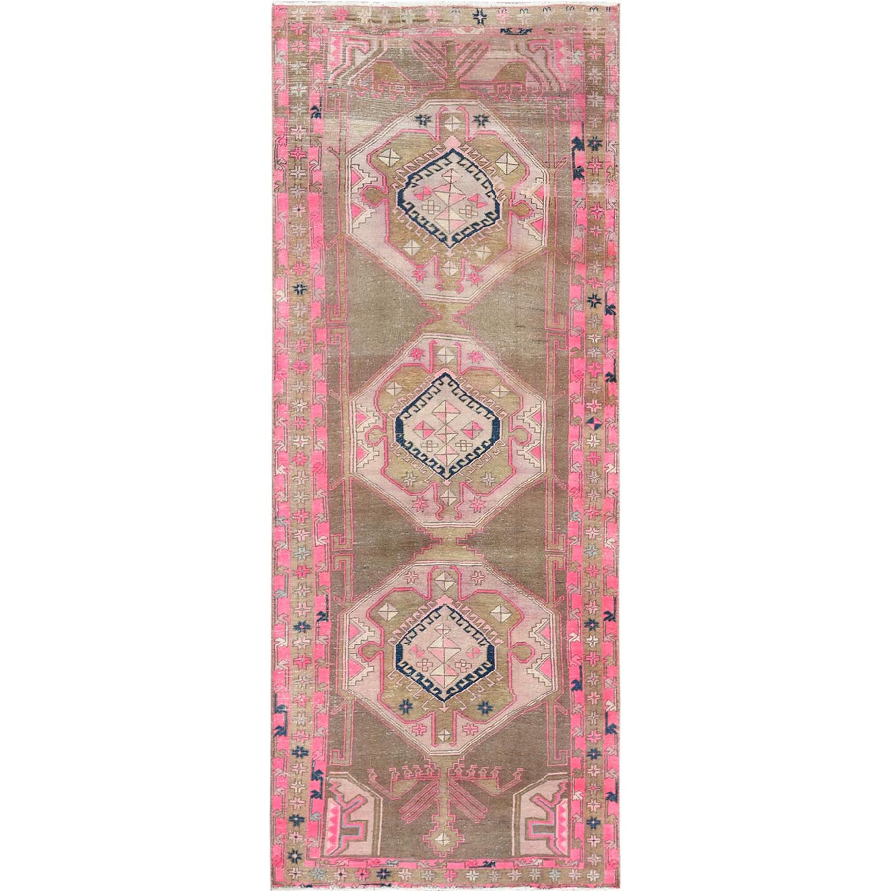Fetneh Collection And Vintage Overdyed Collection Hand Knotted Brown Rug No: 1115538