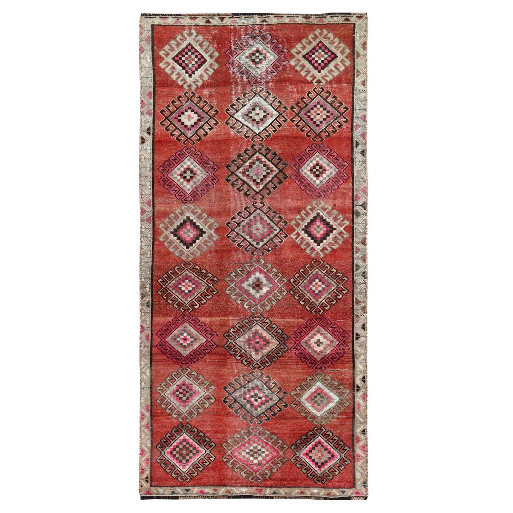Fetneh Collection And Vintage Overdyed Collection Hand Knotted Red Rug No: 1115546