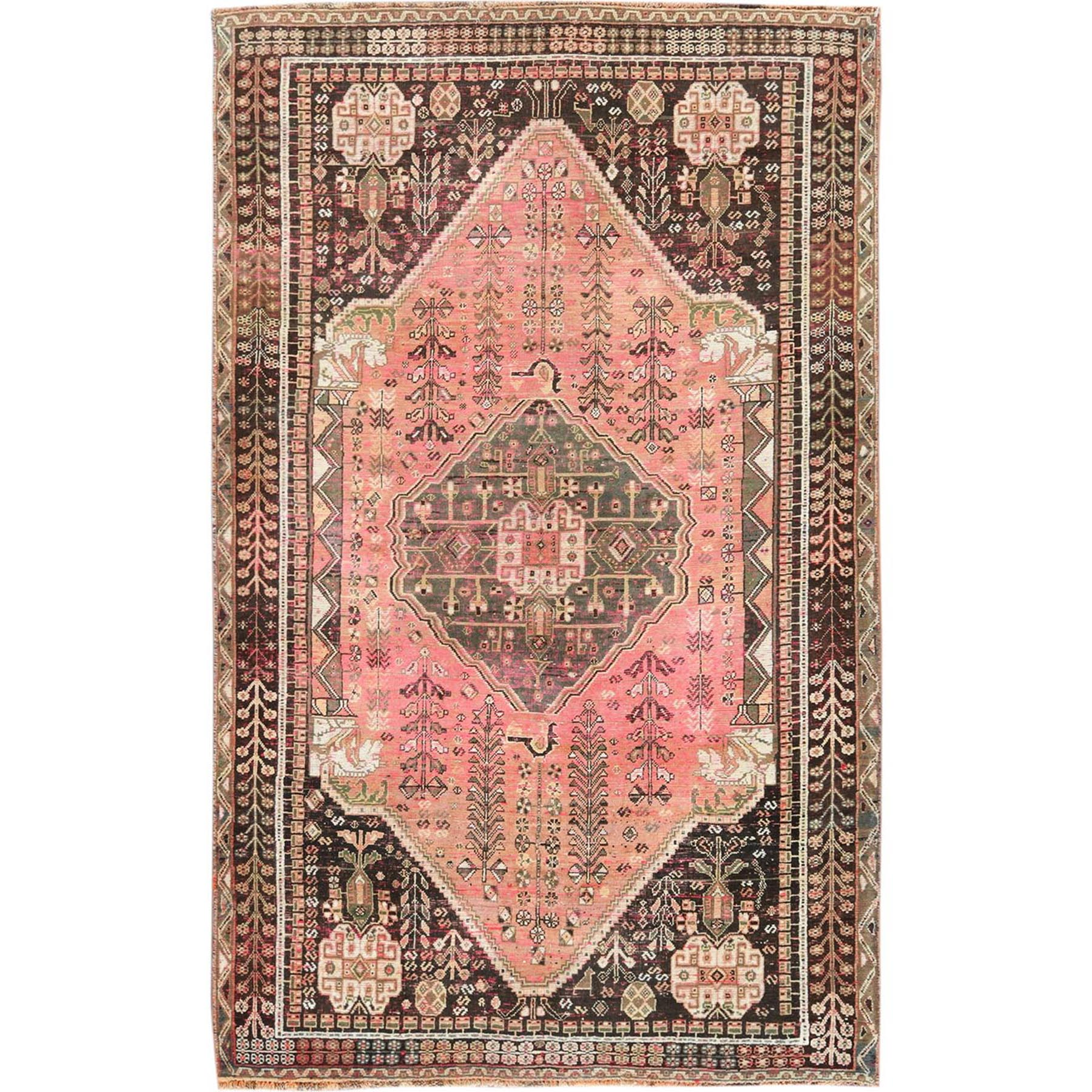 Fetneh Collection And Vintage Overdyed Collection Hand Knotted Pink Rug No: 1115576