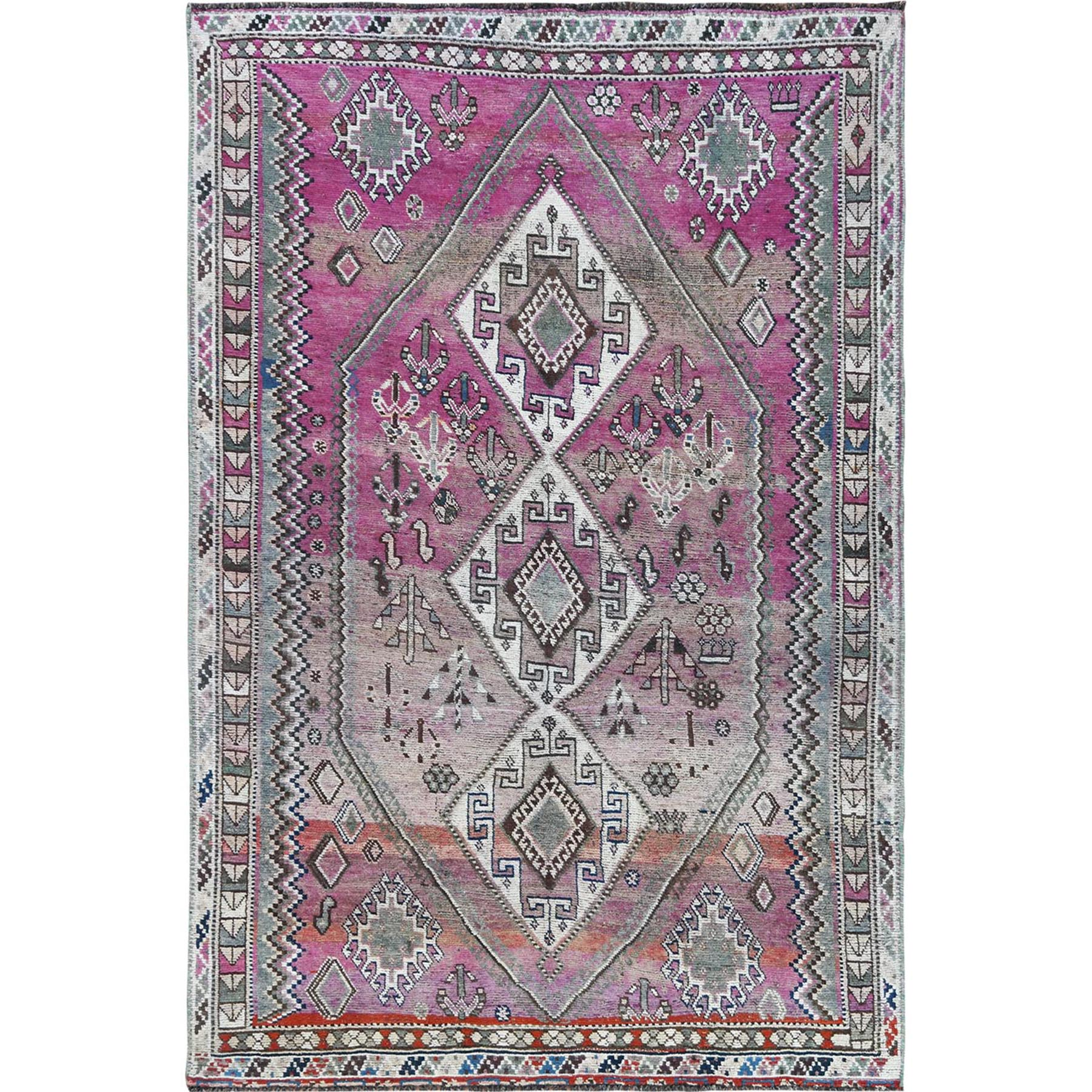 Fetneh Collection And Vintage Overdyed Collection Hand Knotted Pink Rug No: 1115674