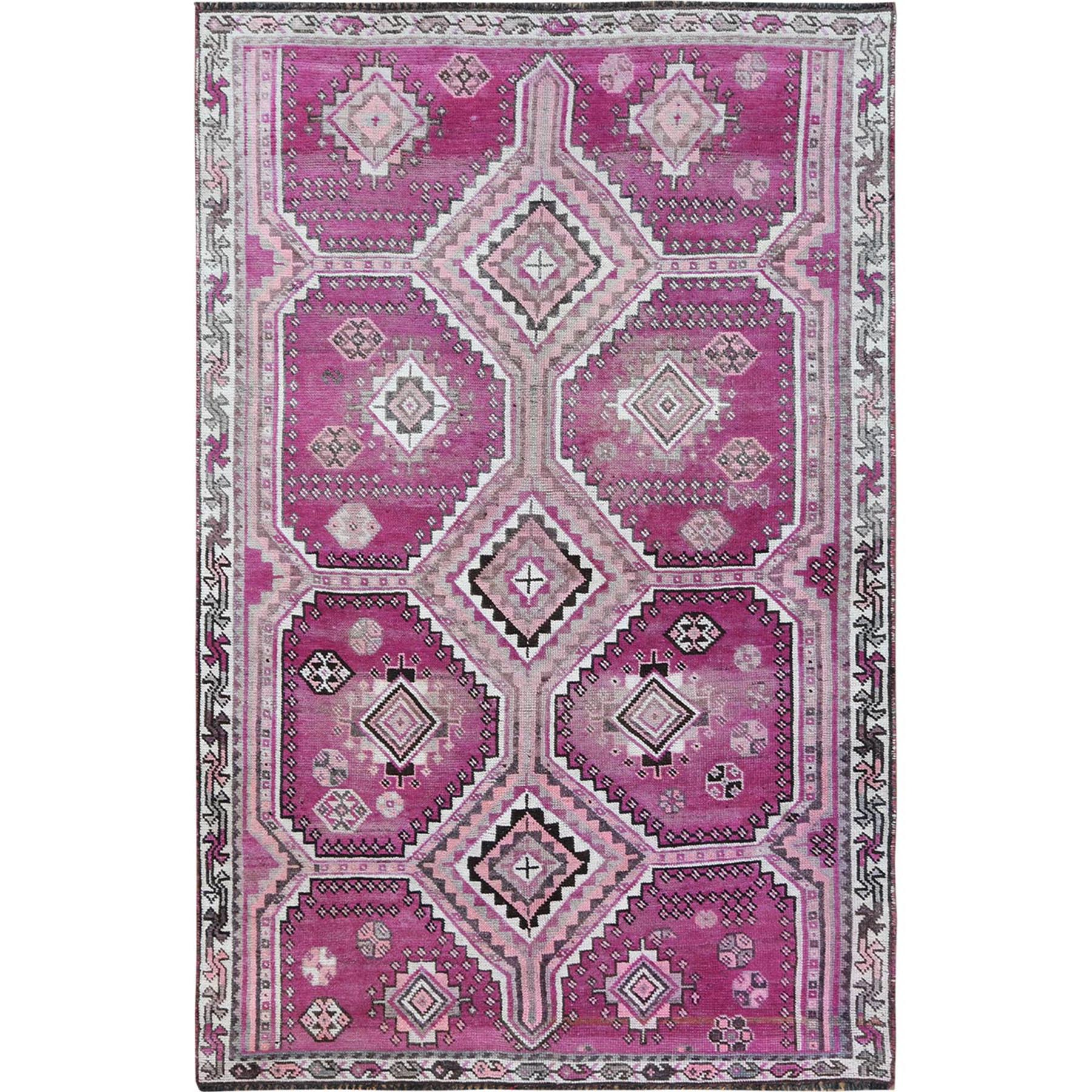 Fetneh Collection And Vintage Overdyed Collection Hand Knotted Pink Rug No: 1115676