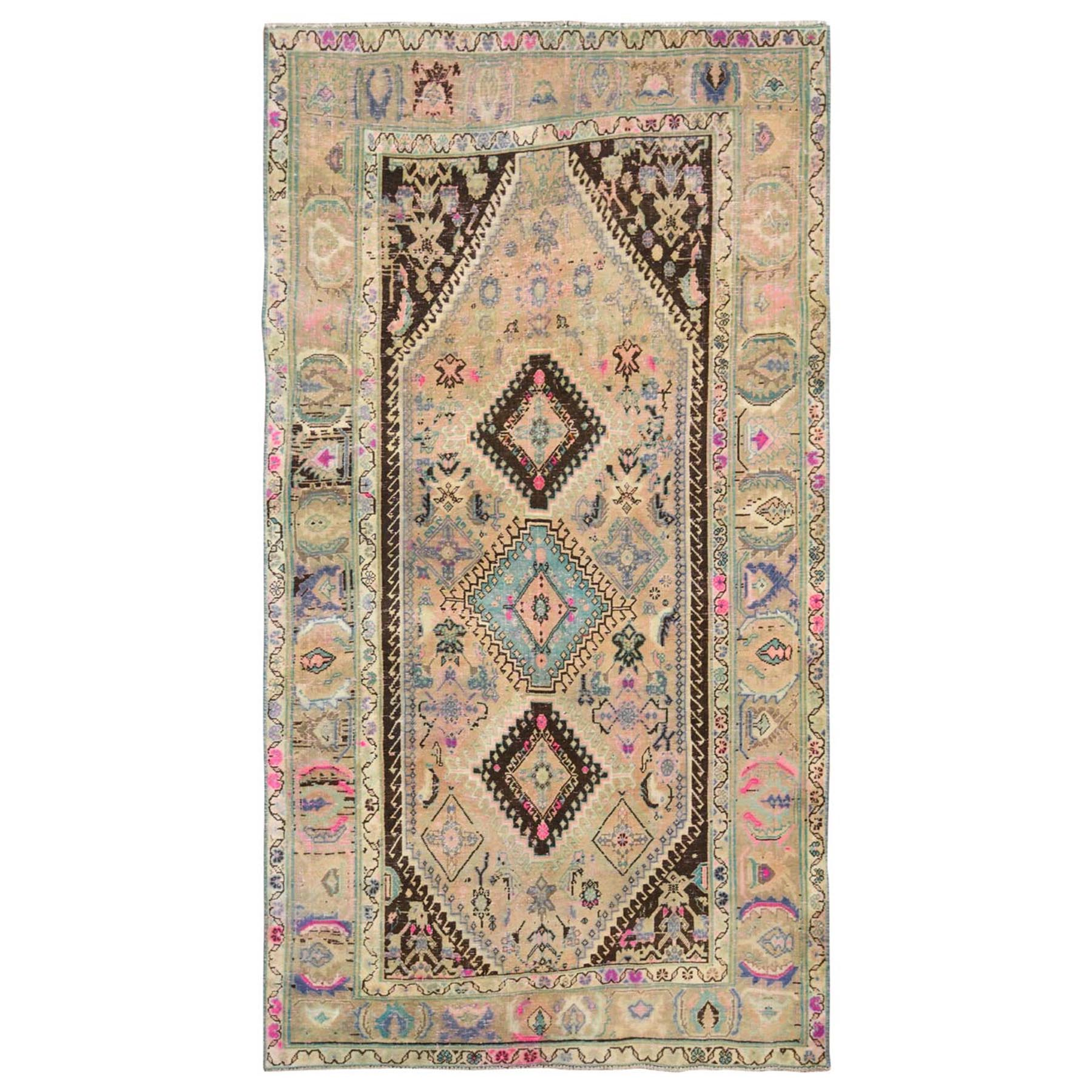 Fetneh Collection And Vintage Overdyed Collection Hand Knotted Beige Rug No: 1115706