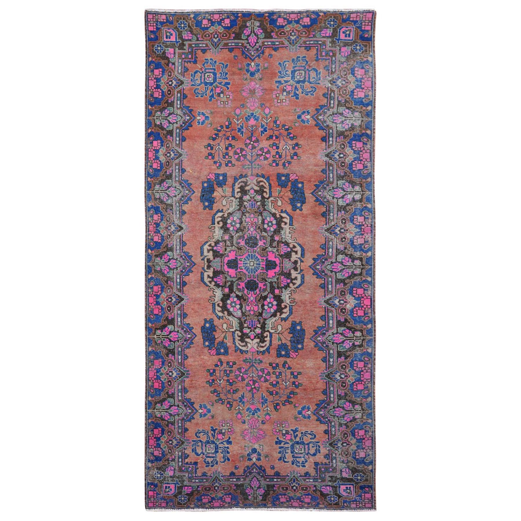 Fetneh Collection And Vintage Overdyed Collection Hand Knotted Orange Rug No: 1115742