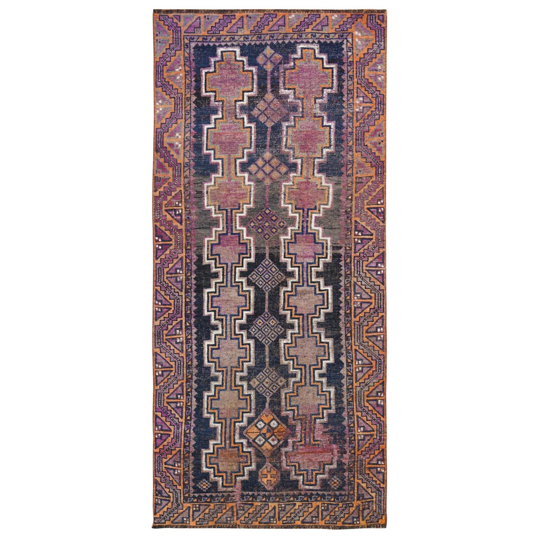 Fetneh Collection And Vintage Overdyed Collection Hand Knotted Blue Rug No: 1115774